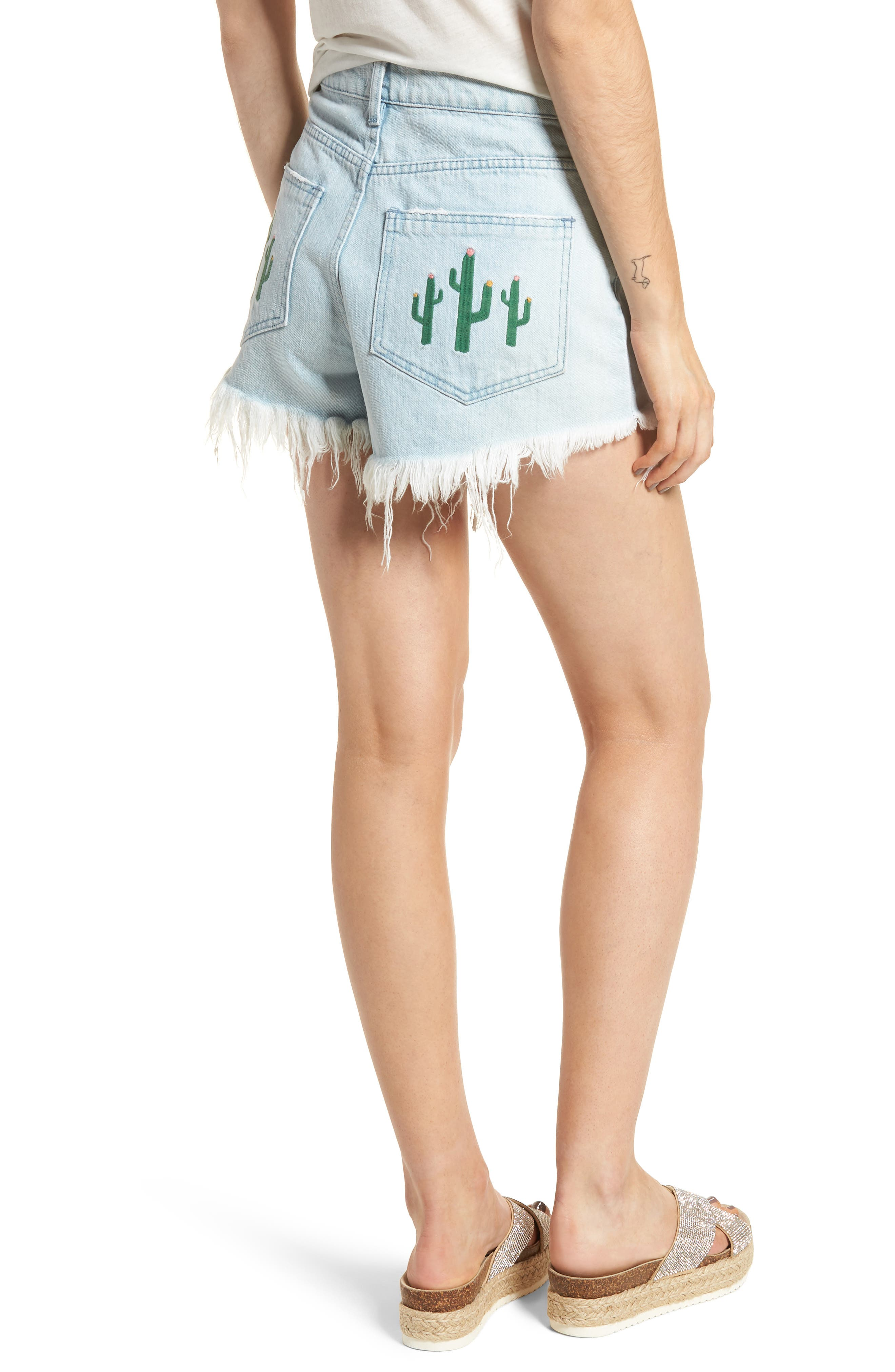 Wyoming High Waist Cutoff Denim Shorts,                             Alternate thumbnail 2, color,                             WHITEWATER WITH CACTUS