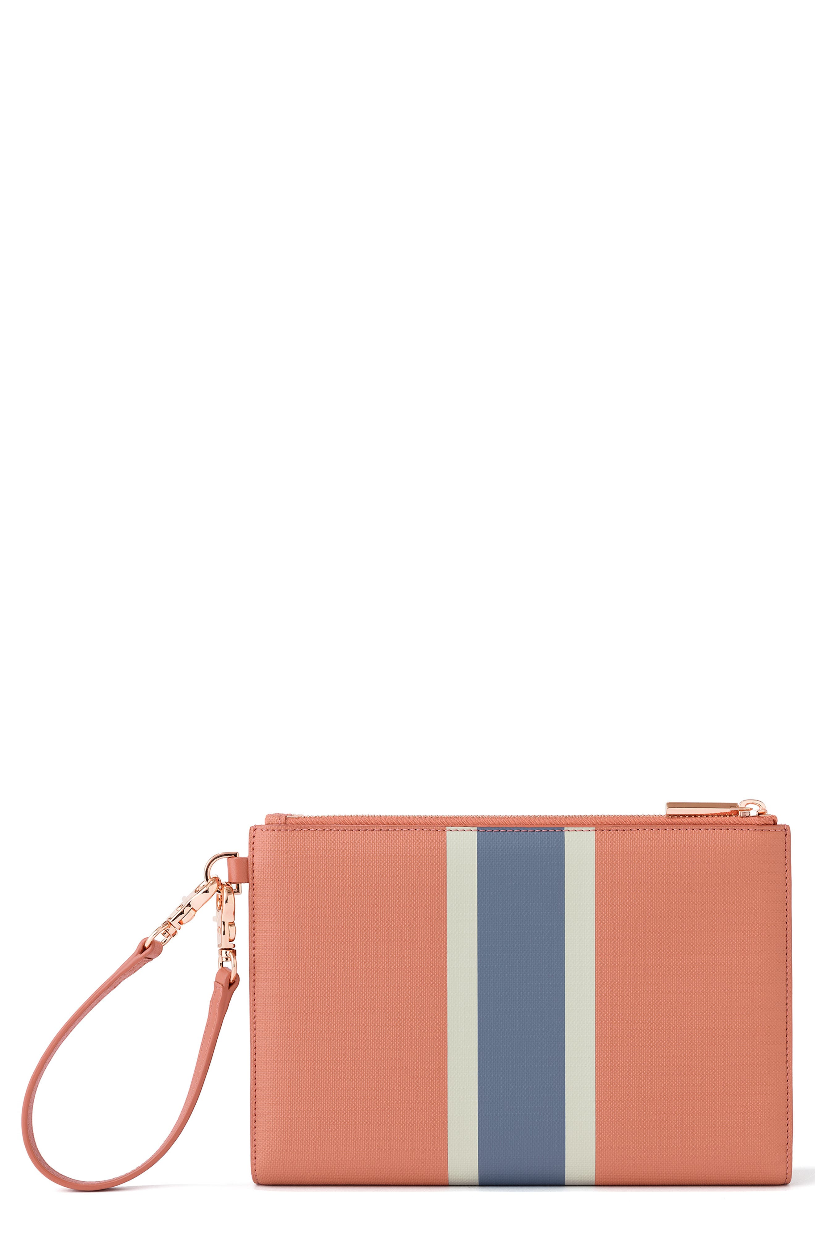 Signature Essentials Coated Canvas Clutch/Wallet,                             Main thumbnail 1, color,                             SIENNA STRIPE