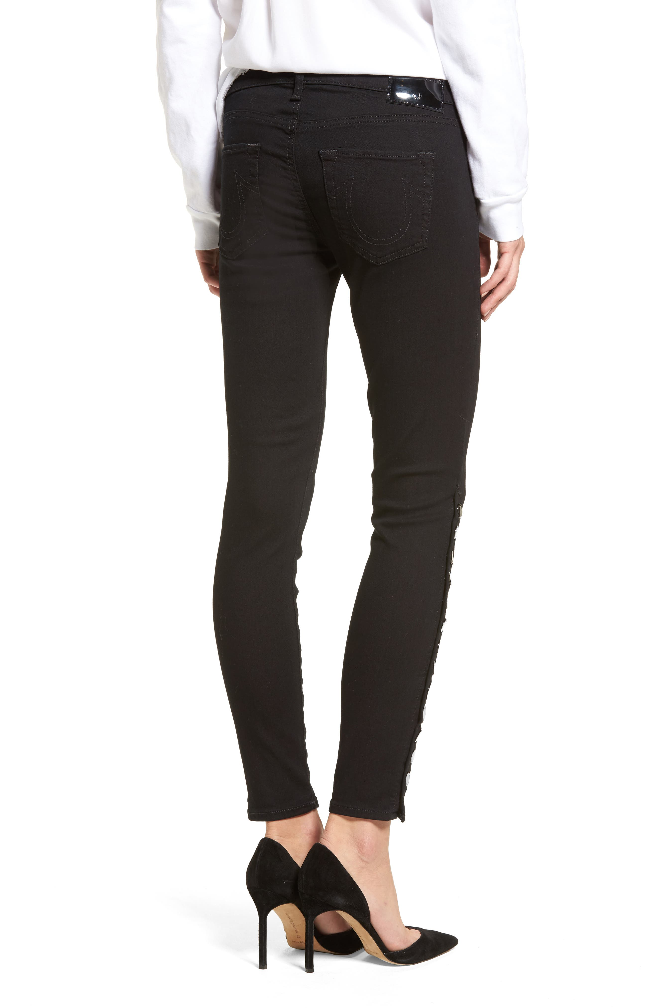 Halle Snap Ankle Super Skinny Jeans,                             Alternate thumbnail 2, color,                             001