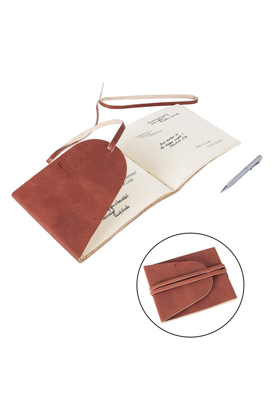 Monogram Leather Guest Book,                             Alternate thumbnail 3, color,                             223