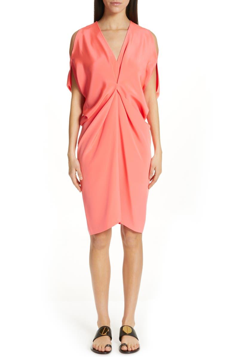 Zero + Maria Cornejo COLD SHOULDER SILK CREPE DRESS
