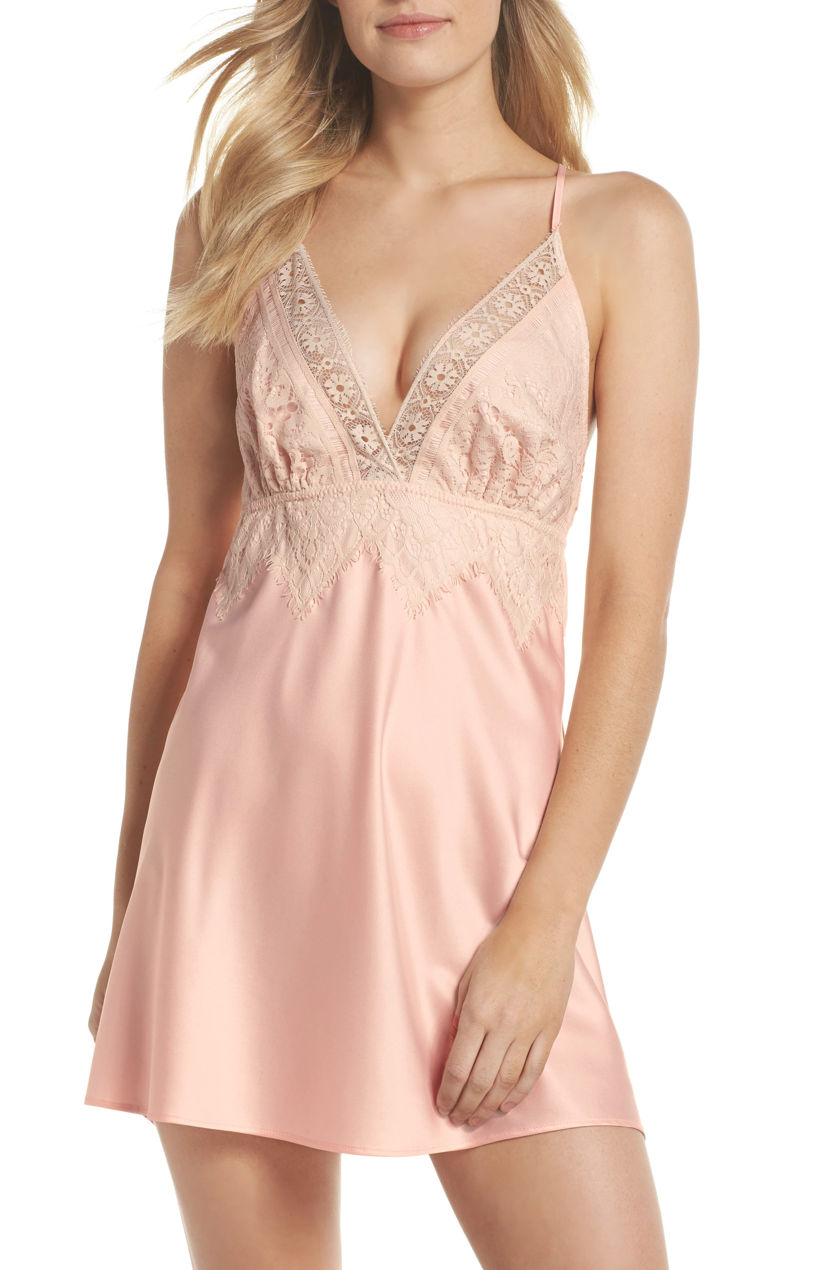 Lace & Charmeuse Chemise,                         Main,                         color,
