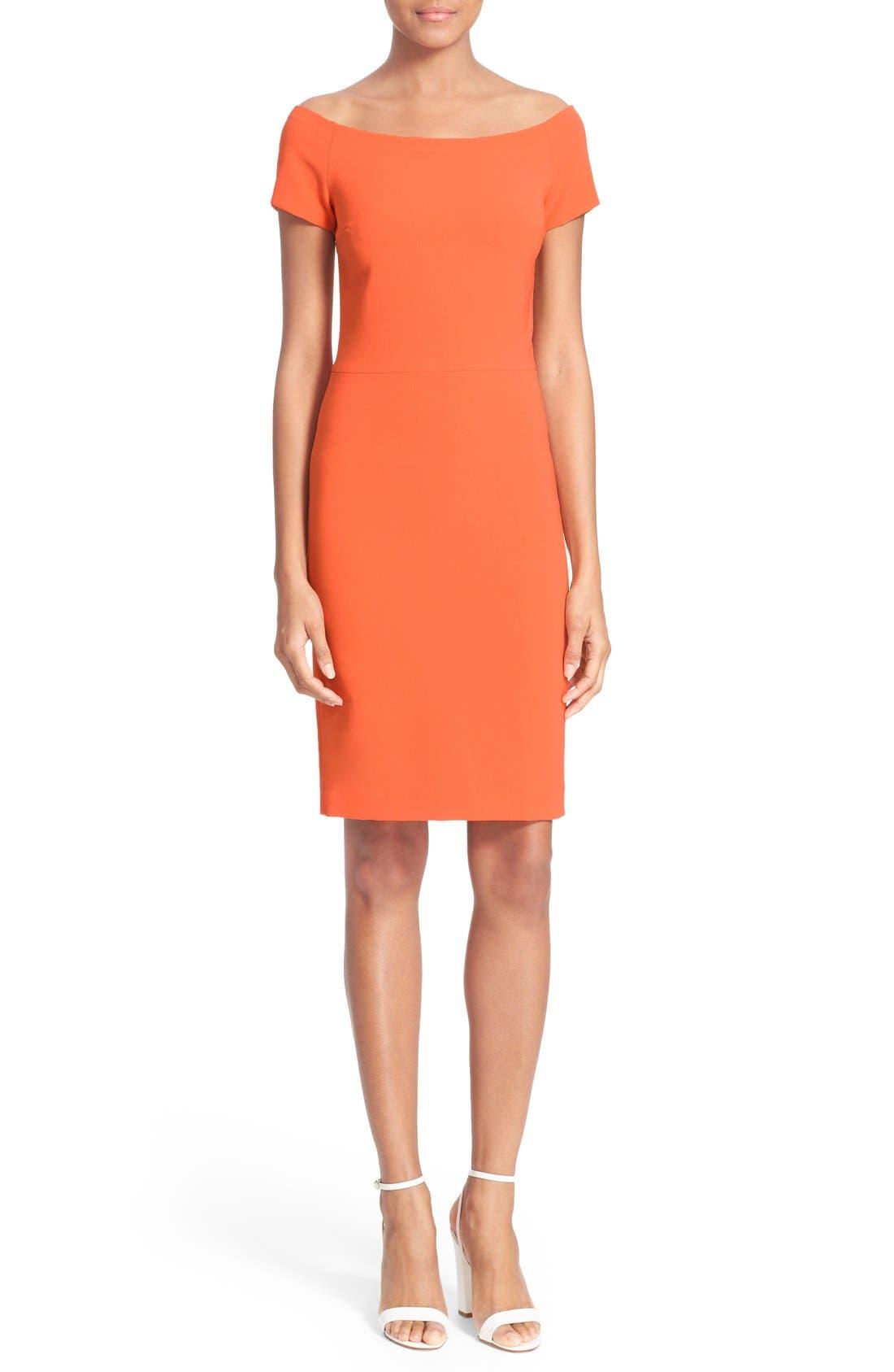 ALICE + OLIVIA 'Aleah' Off the Shoulder Sheath Dress, Main, color, 810