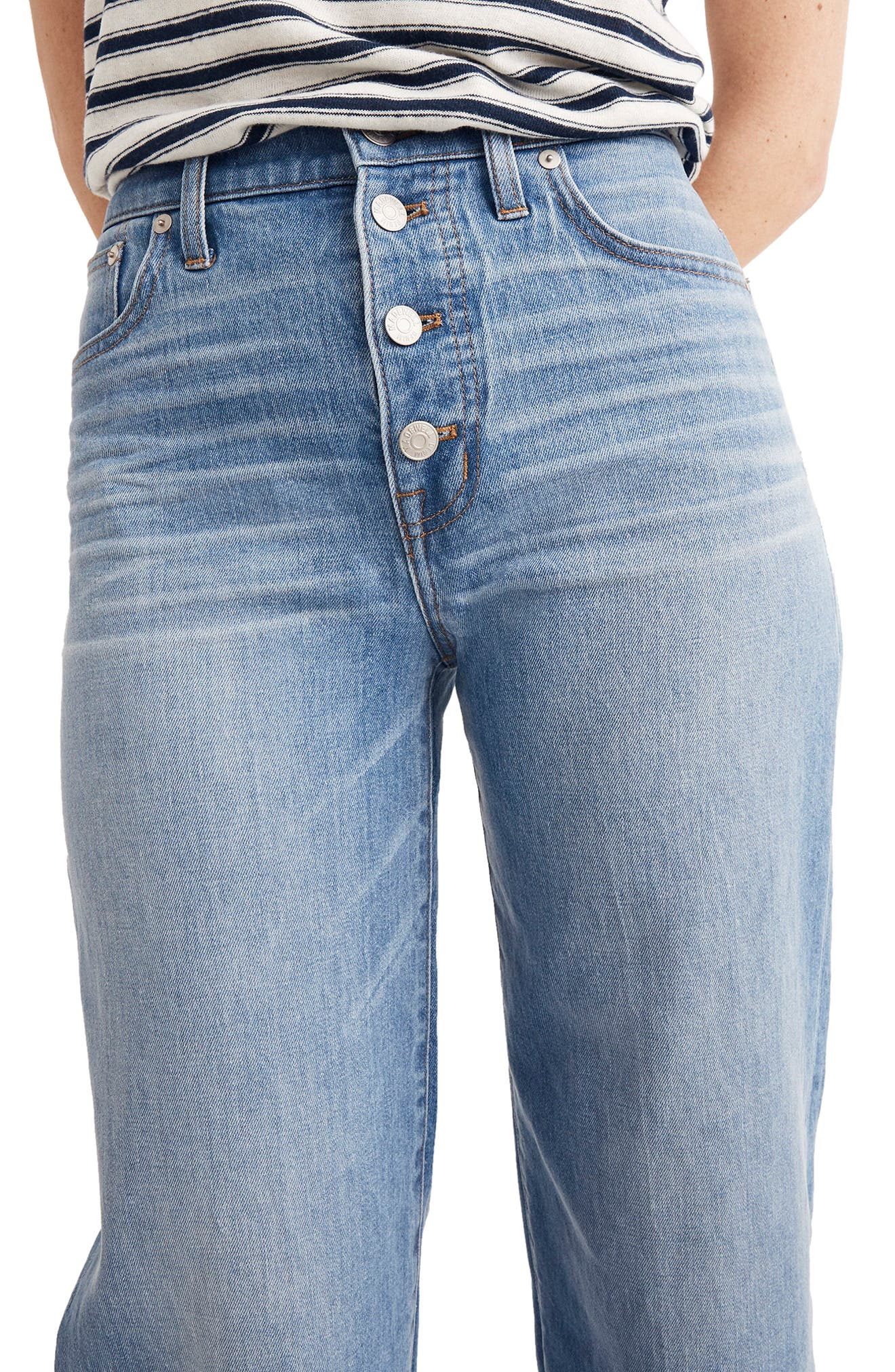 Button Front Wide Leg Crop Jeans,                             Alternate thumbnail 7, color,                             MARTINA WASH