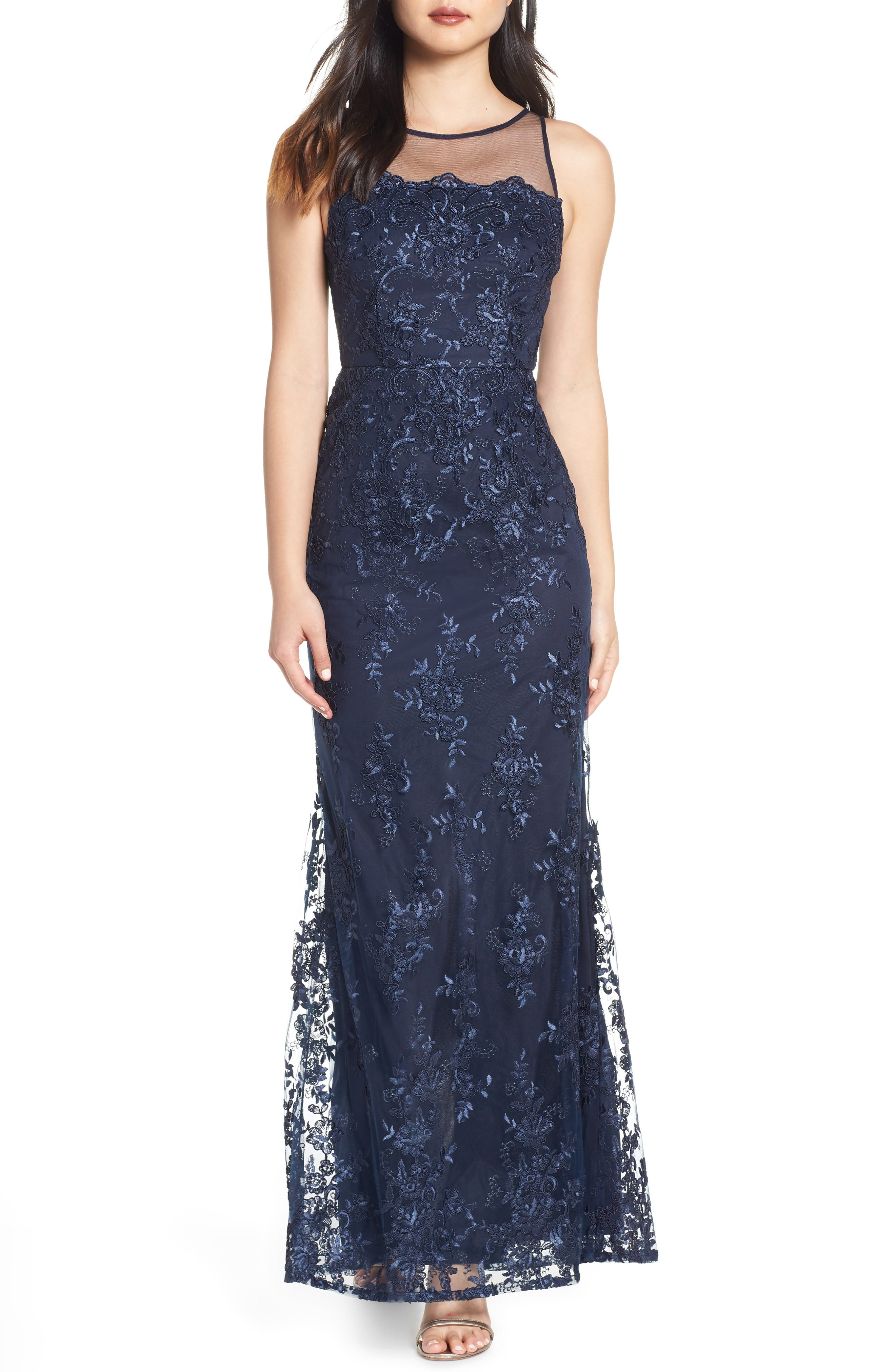 ADRIANNA PAPELL,                             Corded Lace Evening Dress,                             Main thumbnail 1, color,                             MIDNIGHT