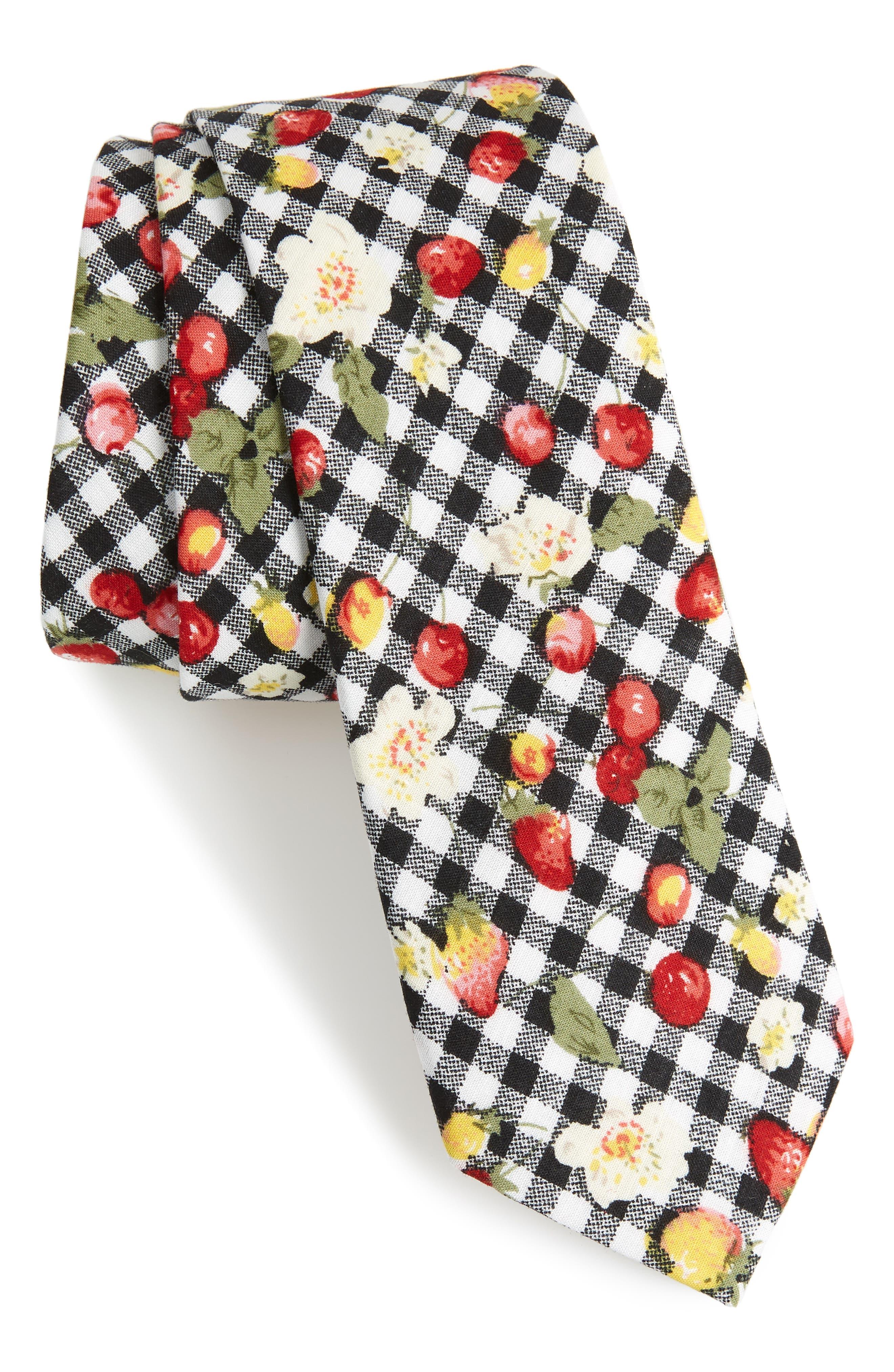 Edmond Floral & Check Cotton Skinny Tie,                         Main,                         color, 001