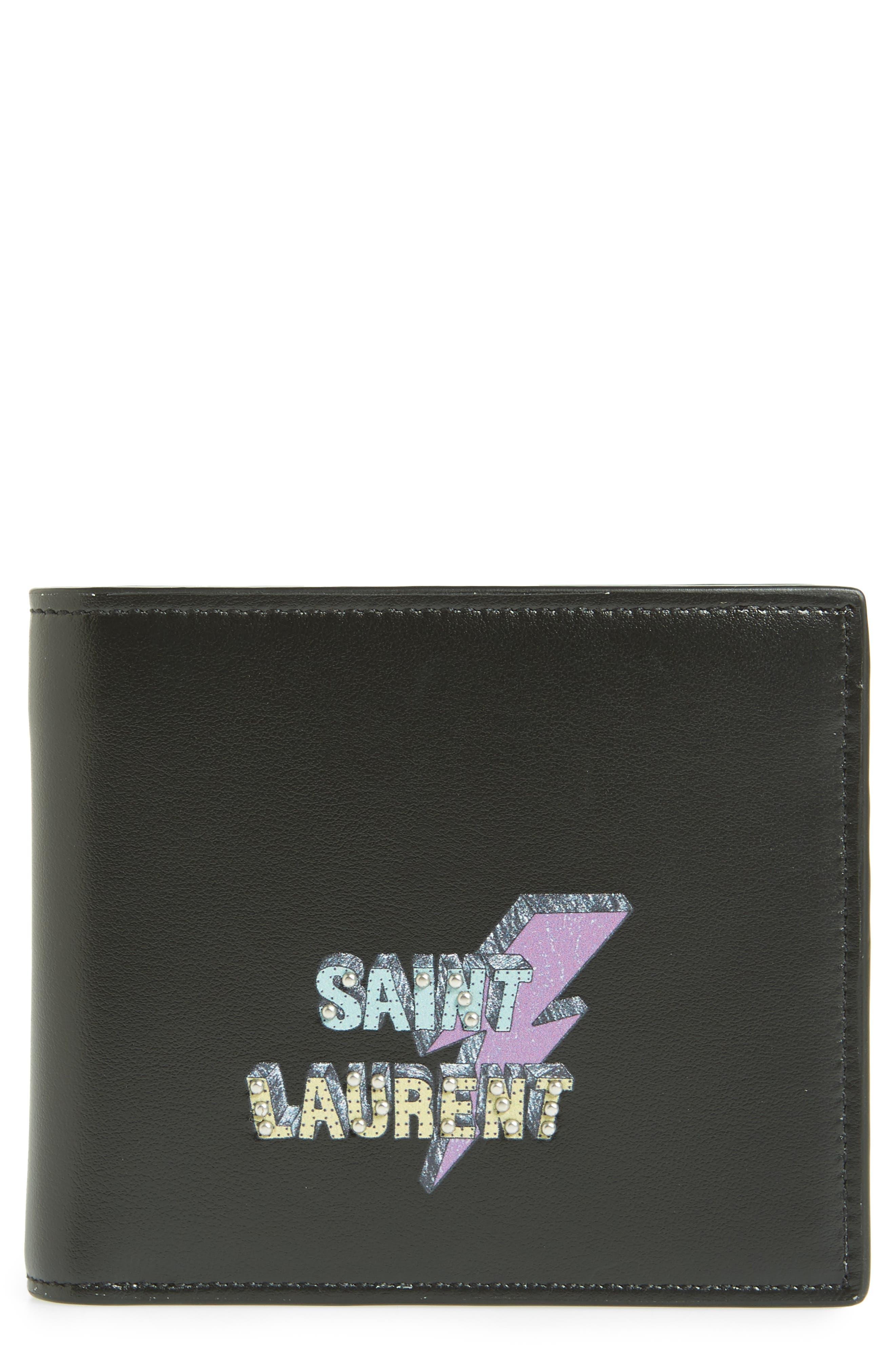 Lightning Logo Leather Wallet,                             Main thumbnail 1, color,                             002