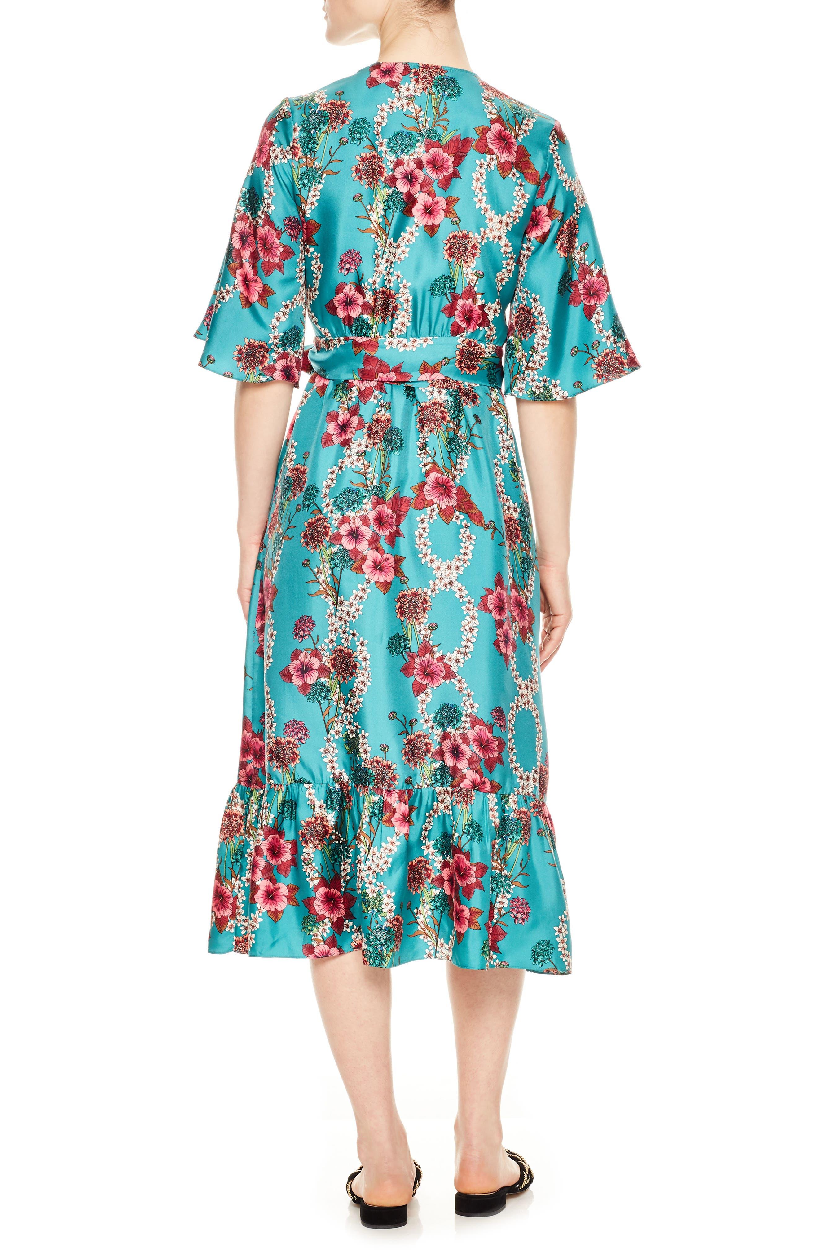 Floral Silk Wrap Dress,                             Alternate thumbnail 2, color,