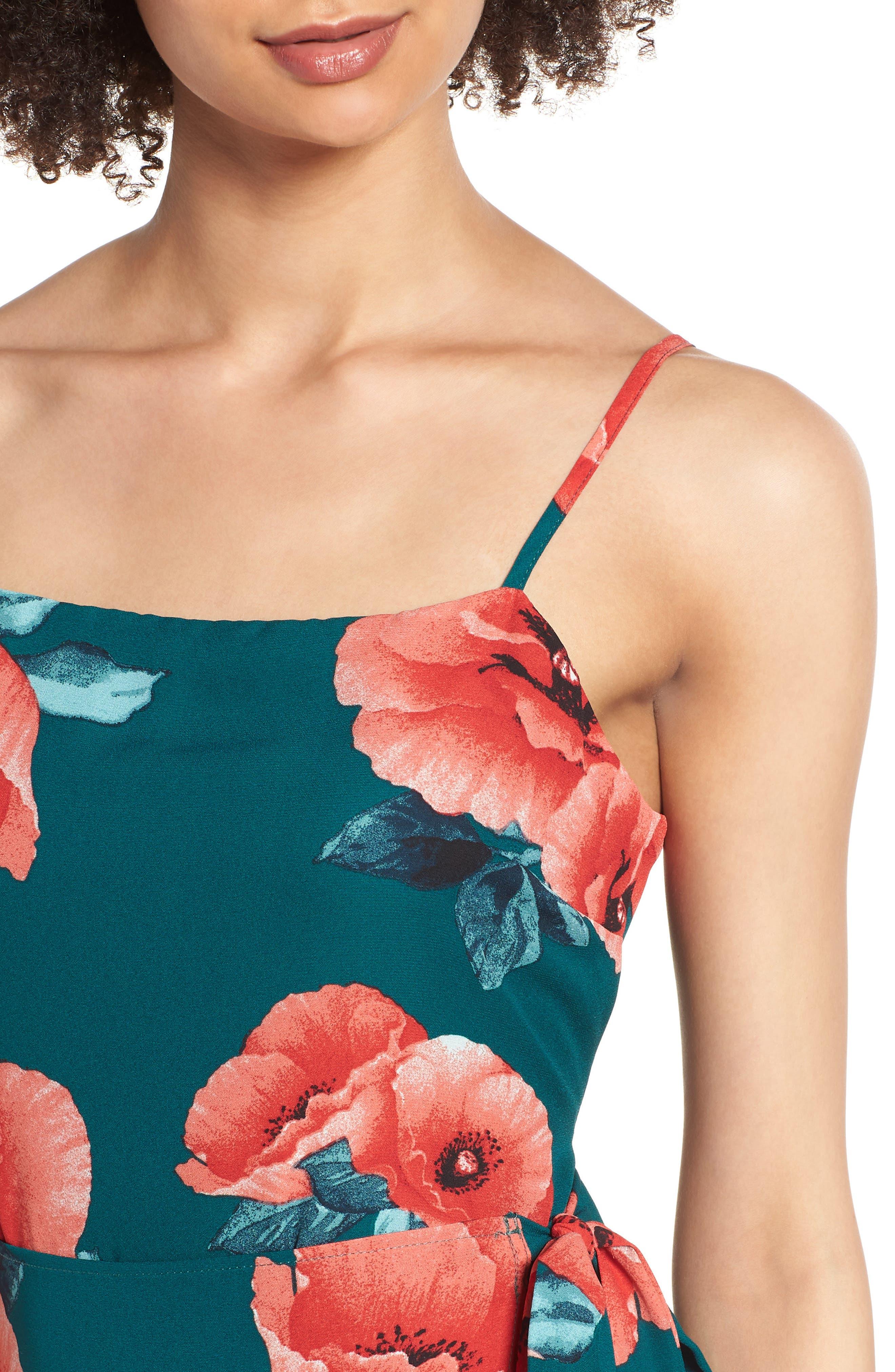 Floral Print Minidress,                             Alternate thumbnail 4, color,                             400