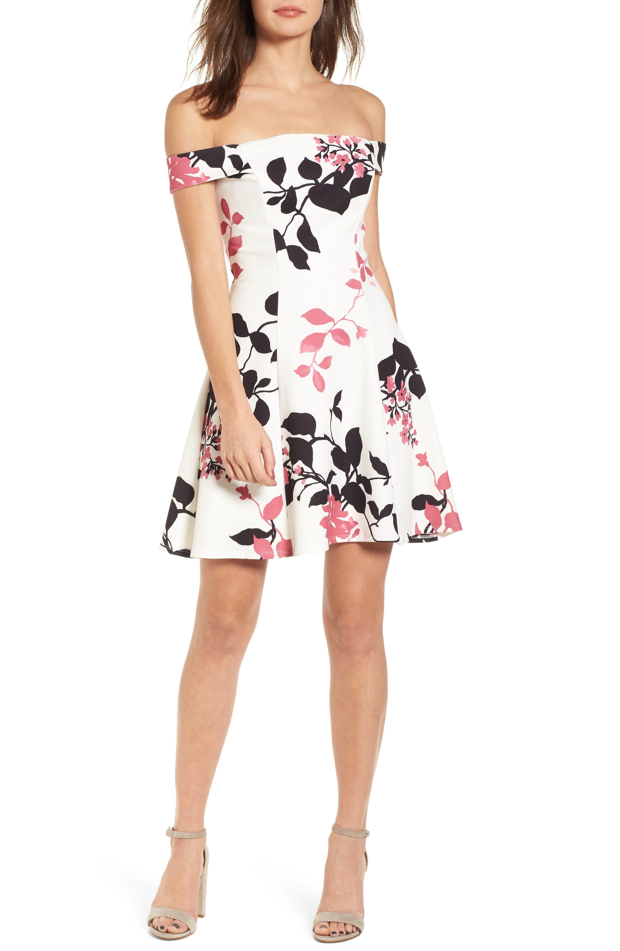 Off the Shoulder Fit & Flare Dress,                         Main,                         color, 100