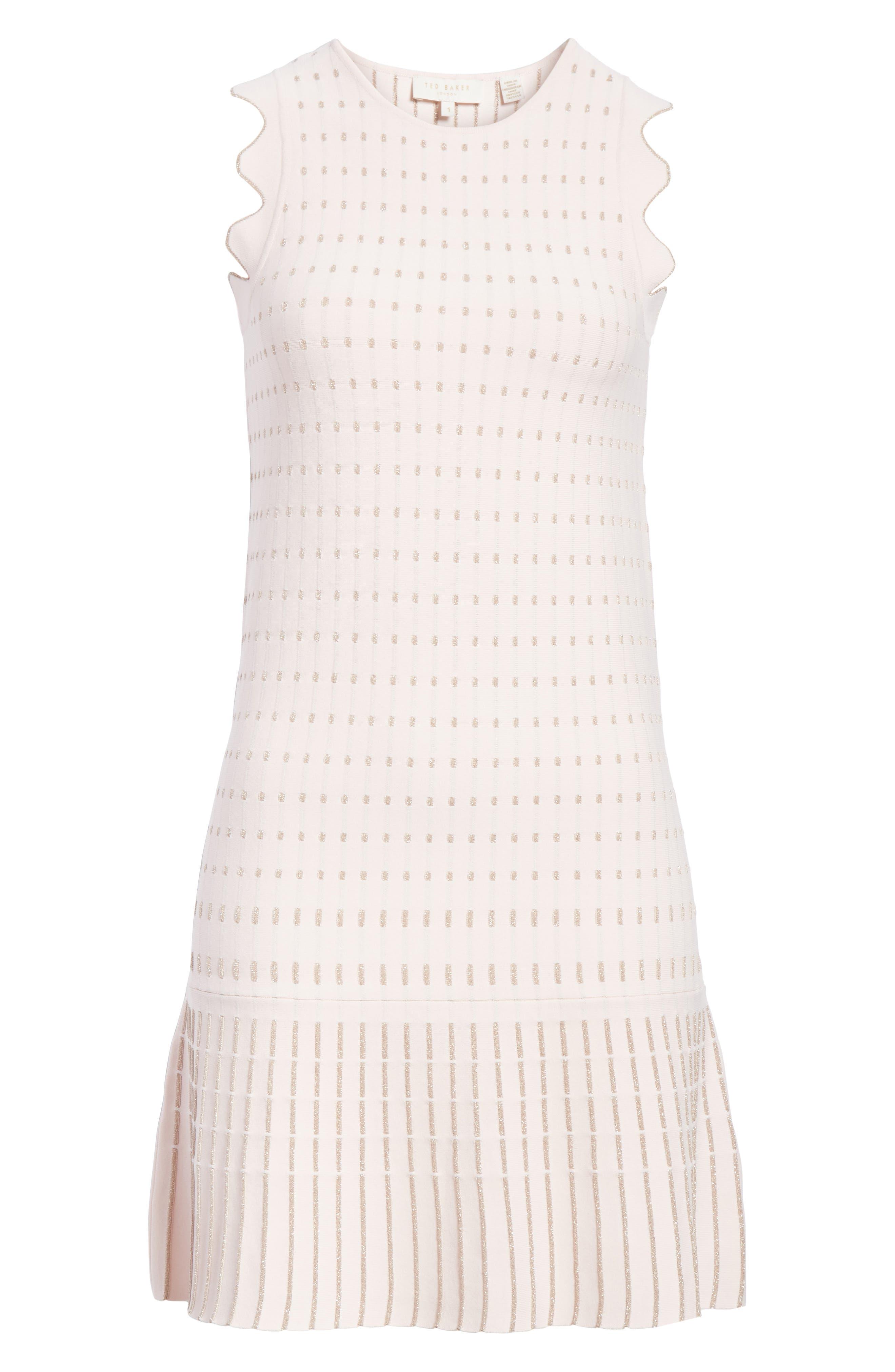 Flippy Metallic Jacquard Dress,                             Alternate thumbnail 6, color,                             BABY PINK