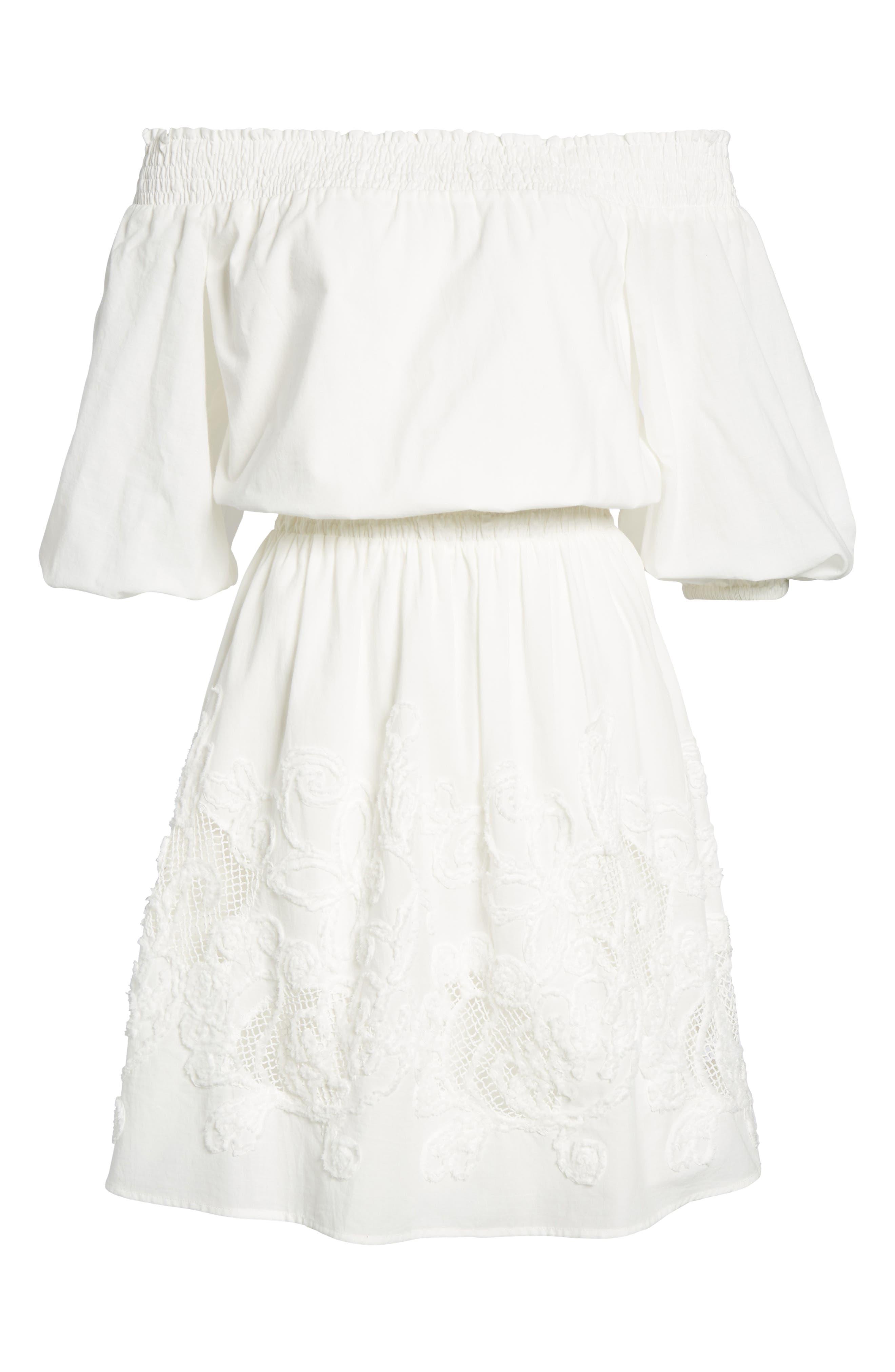 Embroidered Off the Shoulder Blouson Dress,                             Alternate thumbnail 6, color,                             100