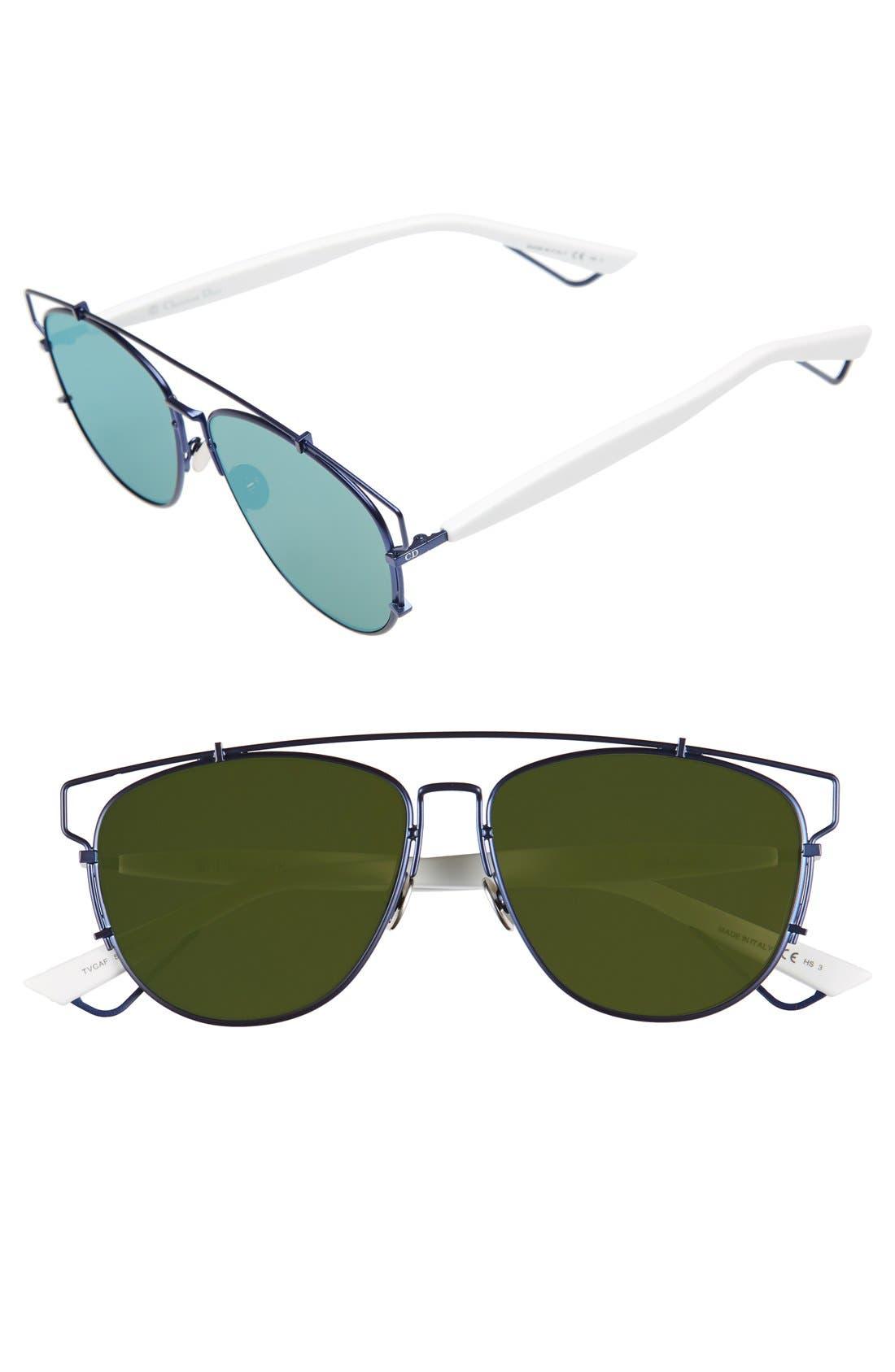 Technologic 57mm Brow Bar Sunglasses,                             Main thumbnail 10, color,