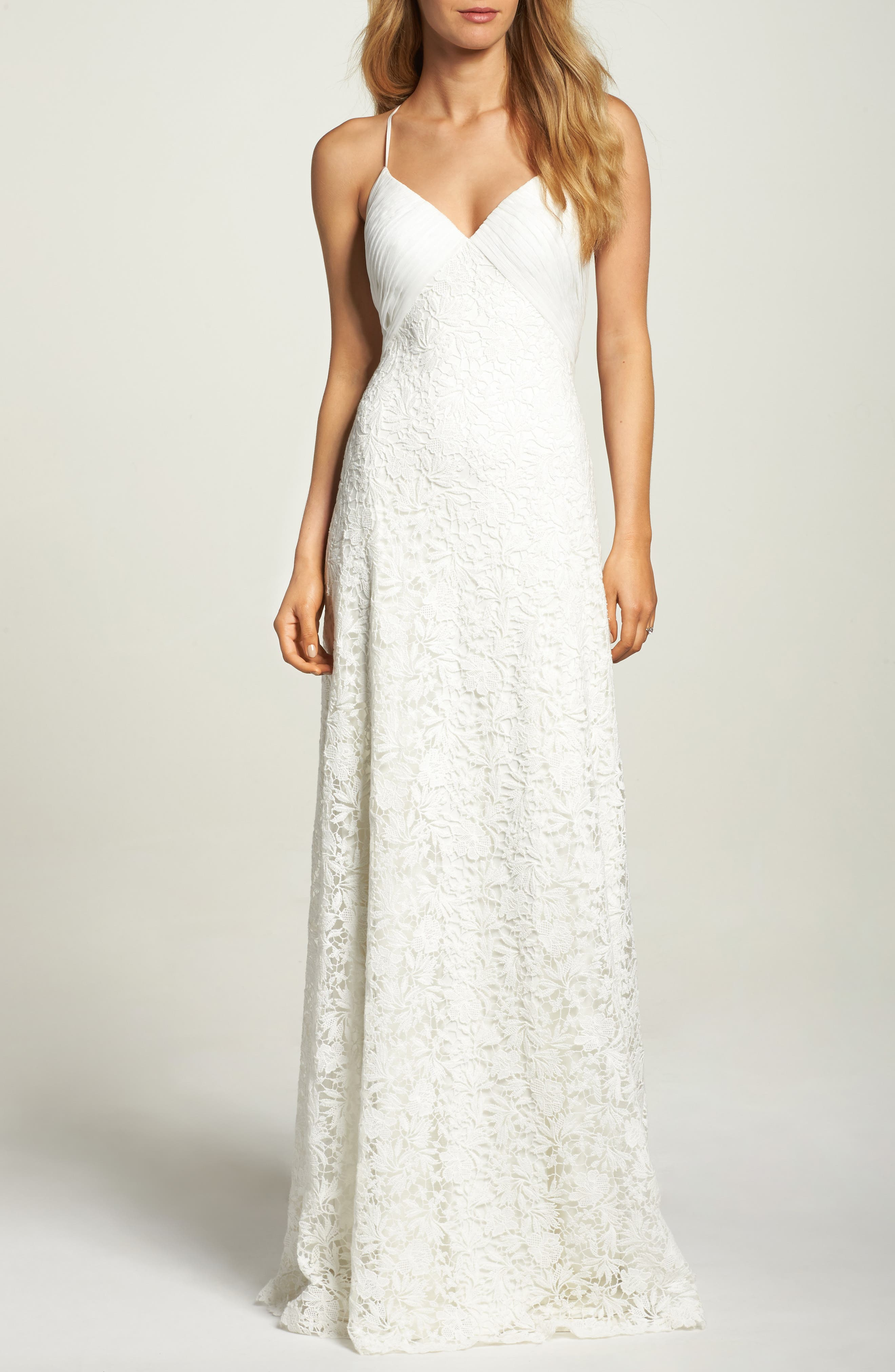 Pleat Back Lace Gown,                             Main thumbnail 1, color,                             IVORY