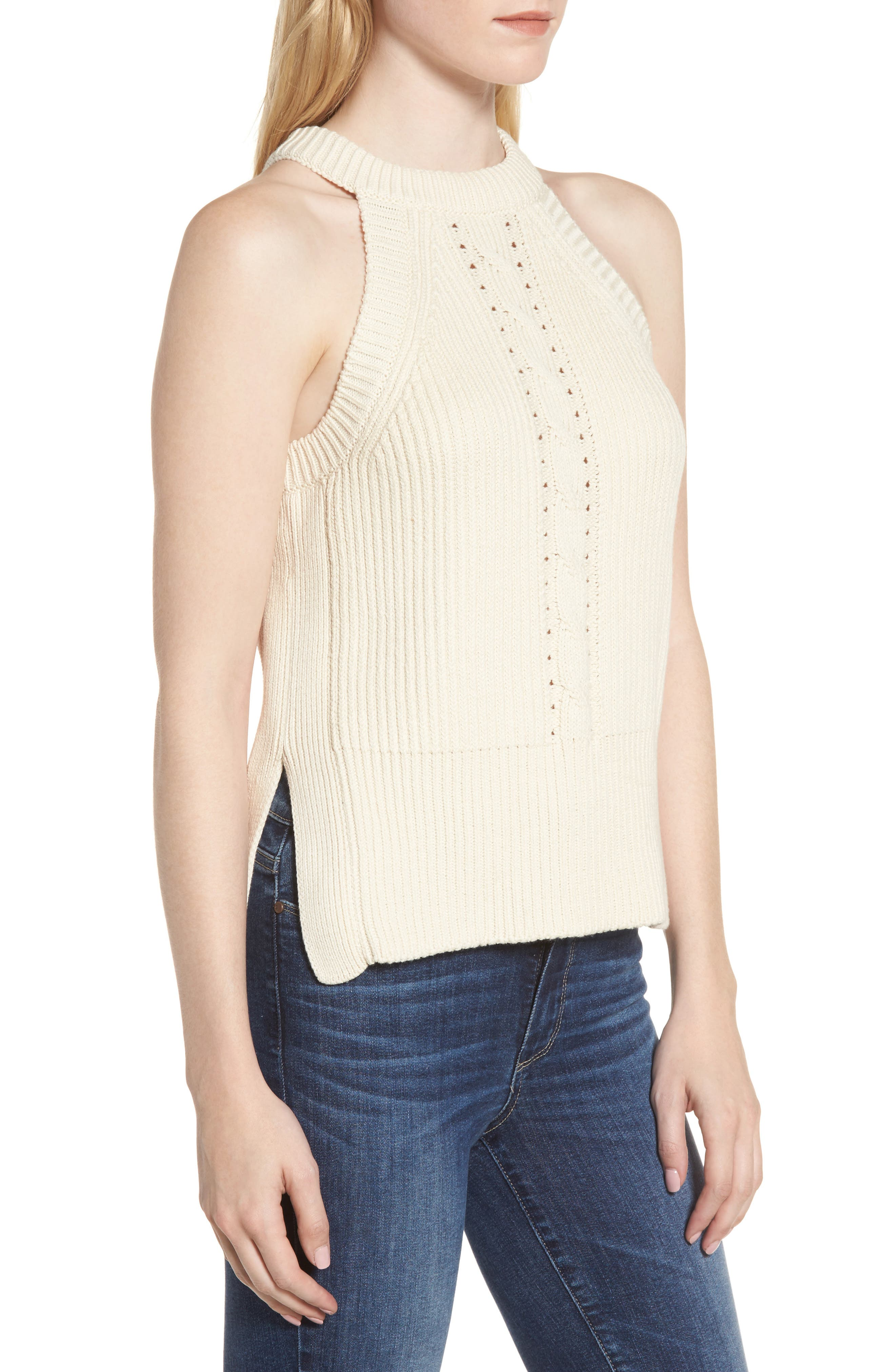 Sleeveless Cable Sweater,                             Alternate thumbnail 3, color,                             900