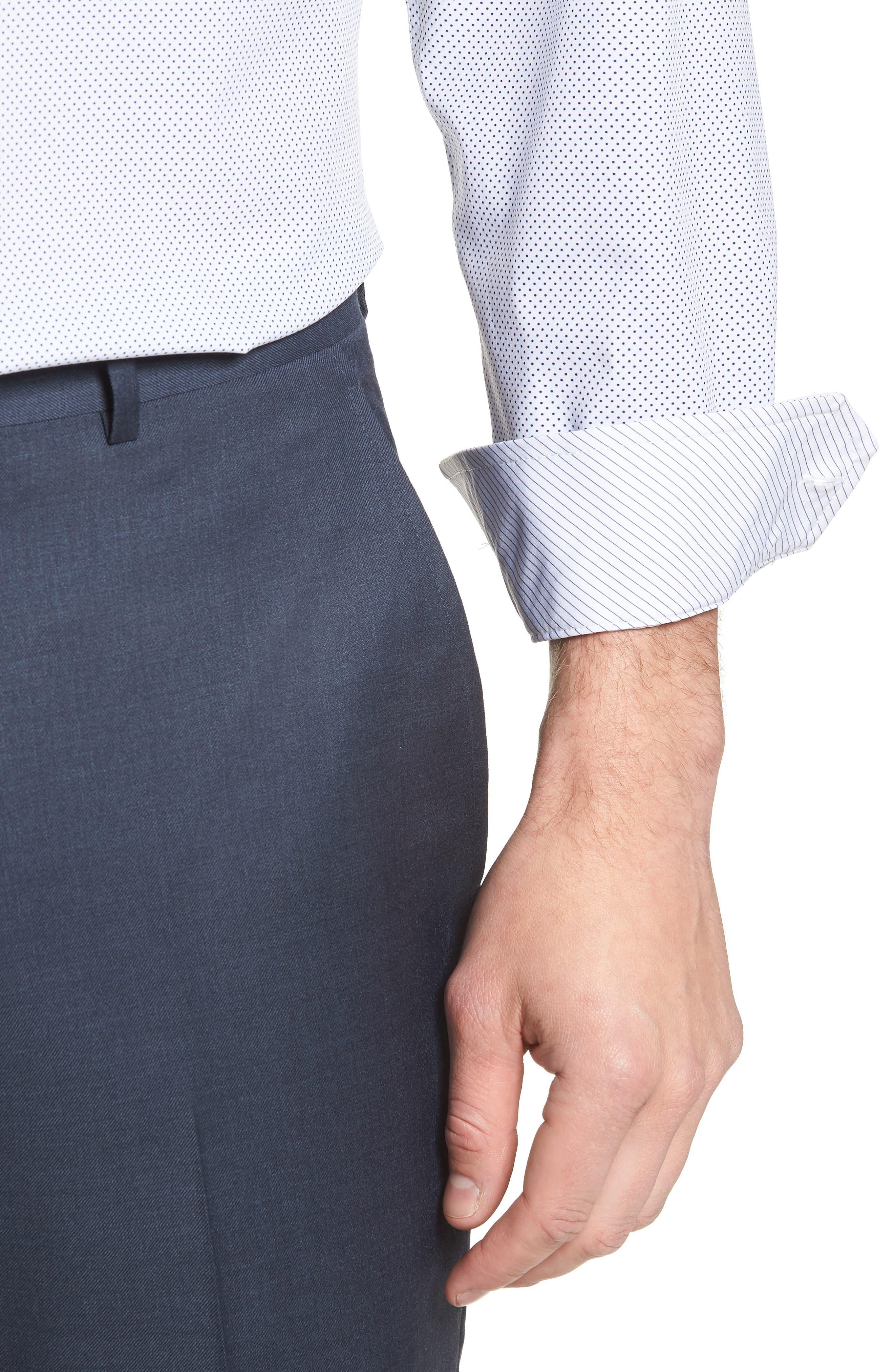 W.R.K,                             Trim Fit Dot 4-Way Stretch Dress Shirt,                             Alternate thumbnail 2, color,                             100