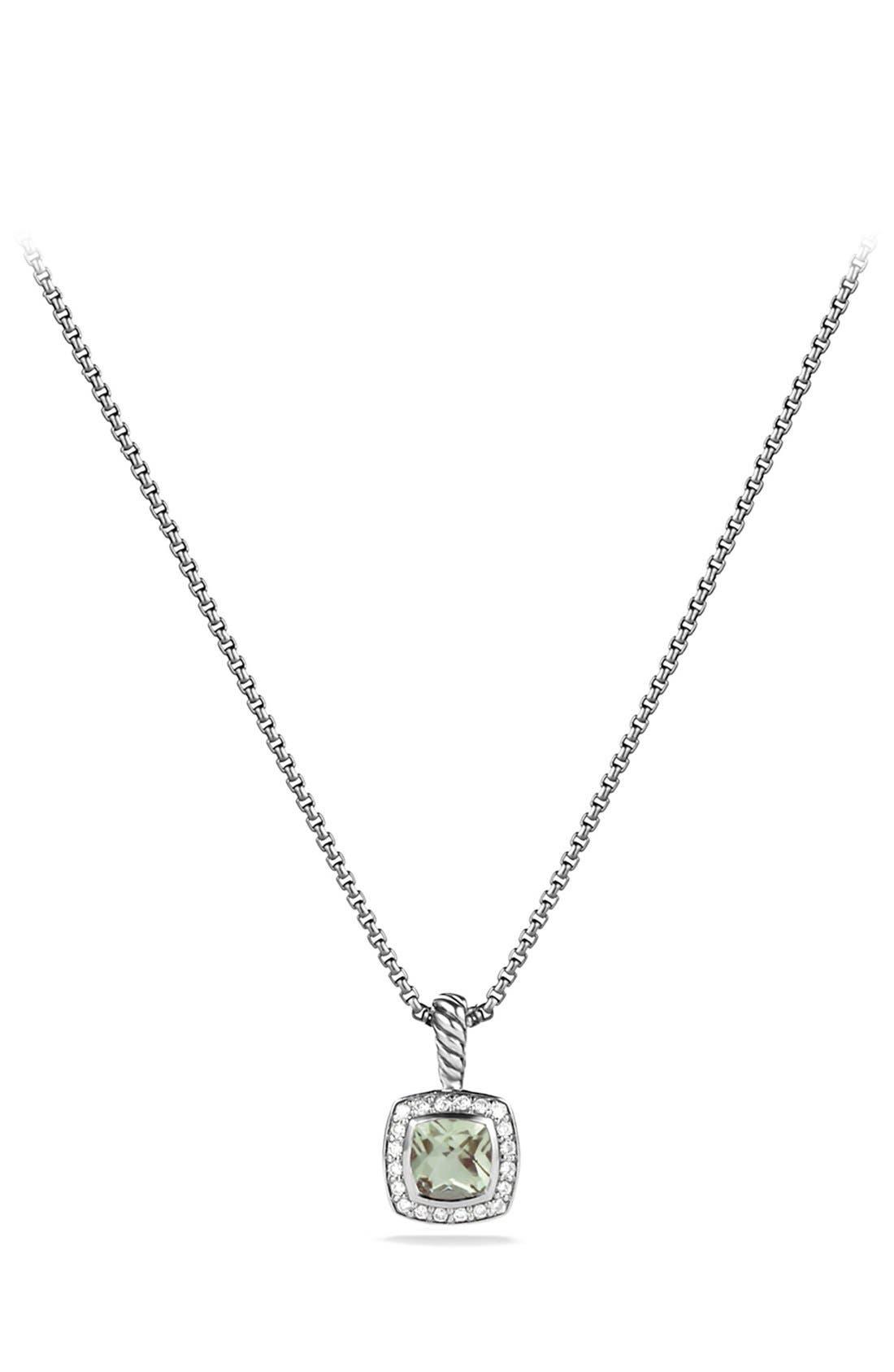 'Albion' Petite Pendant with Prasiolite and Diamonds on Chain,                         Main,                         color, PRASIOLITE