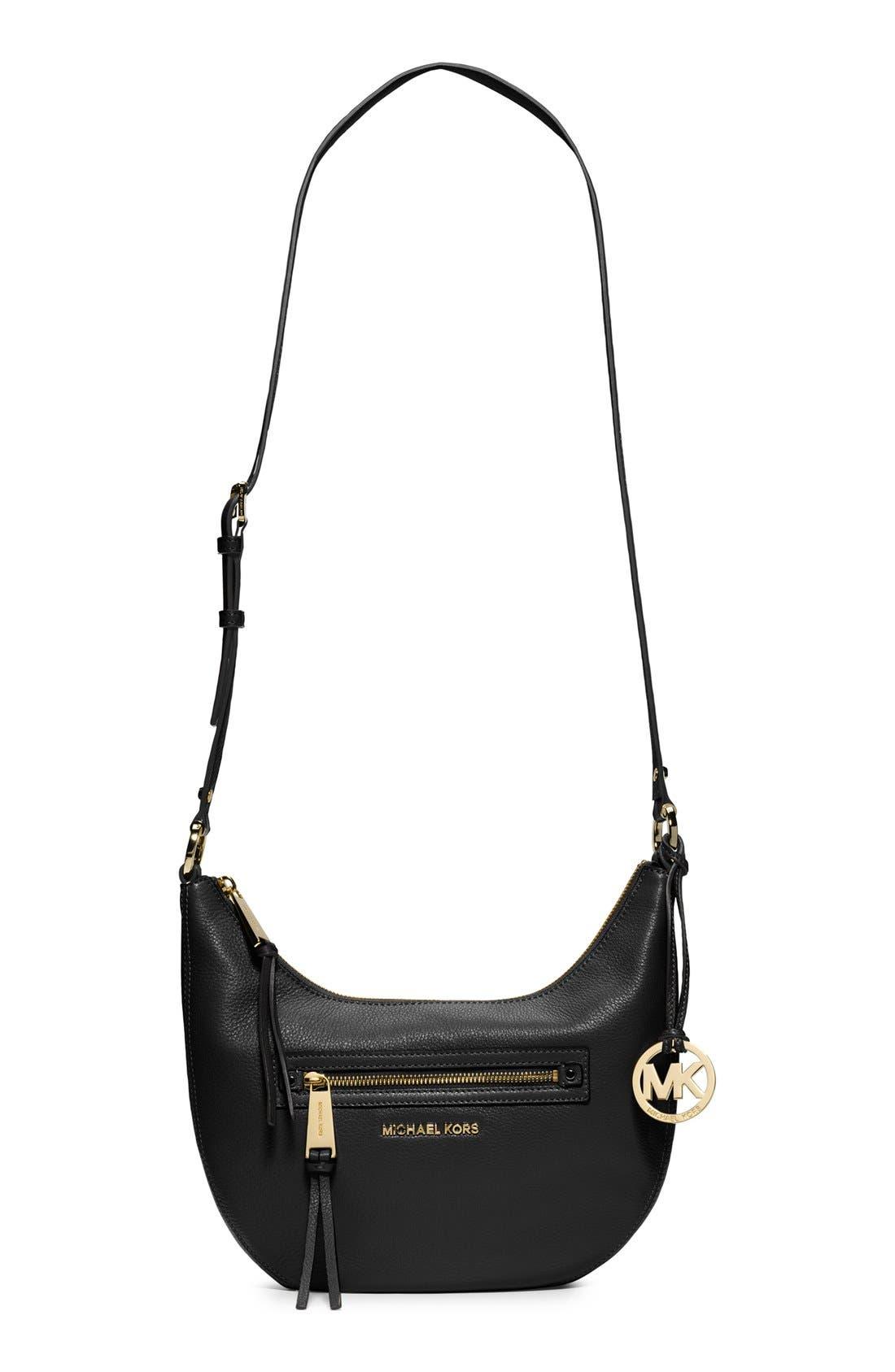 MICHAEL MICHAEL KORS,                             'Small Rhea' Zip Detail Shoulder Bag,                             Main thumbnail 1, color,                             001