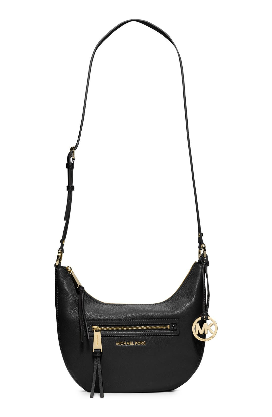 MICHAEL MICHAEL KORS 'Small Rhea' Zip Detail Shoulder Bag, Main, color, 001
