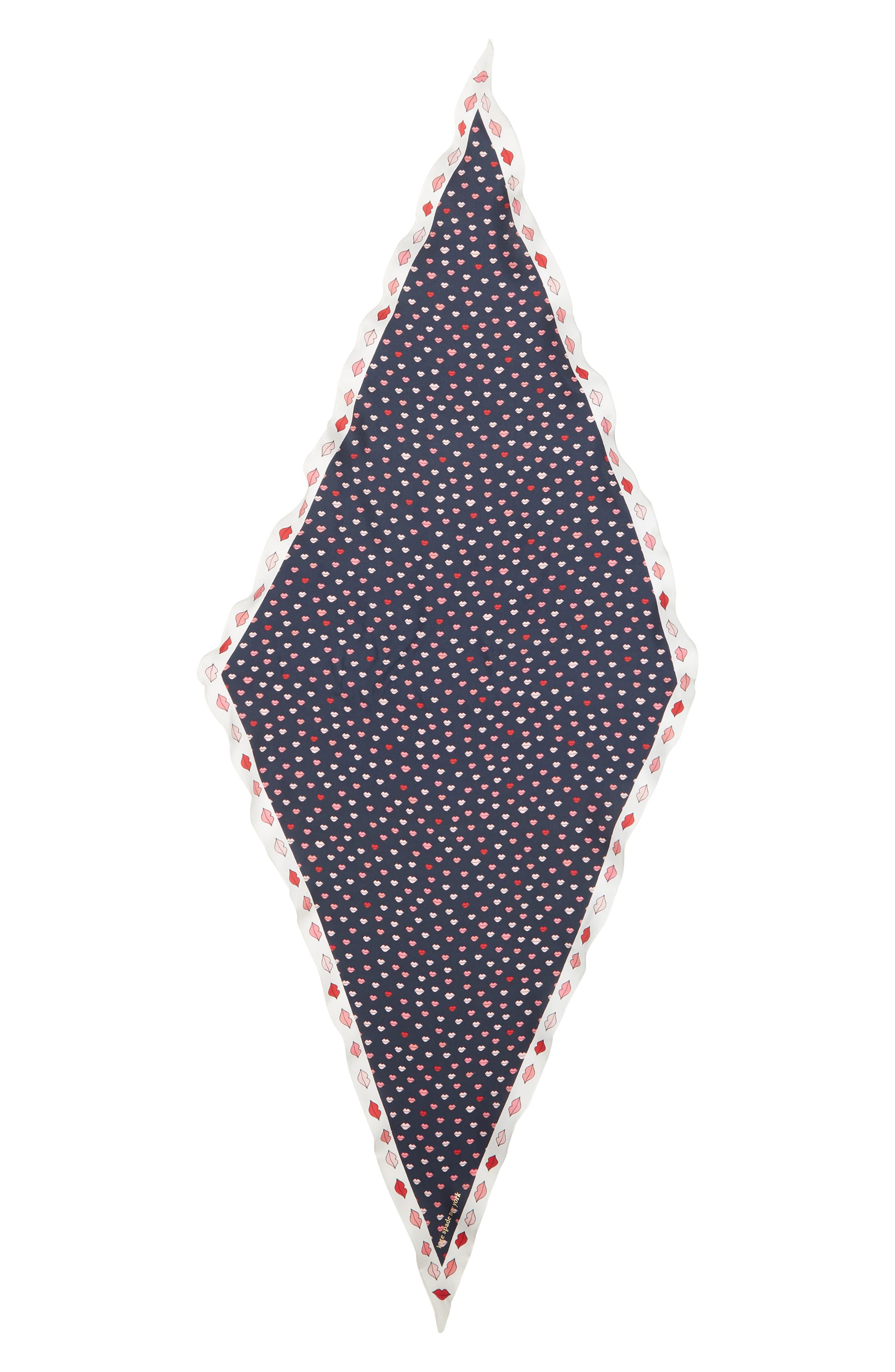 KATE SPADE NEW YORK,                             lips diamond silk scarf,                             Alternate thumbnail 3, color,                             PARISIAN NAVY