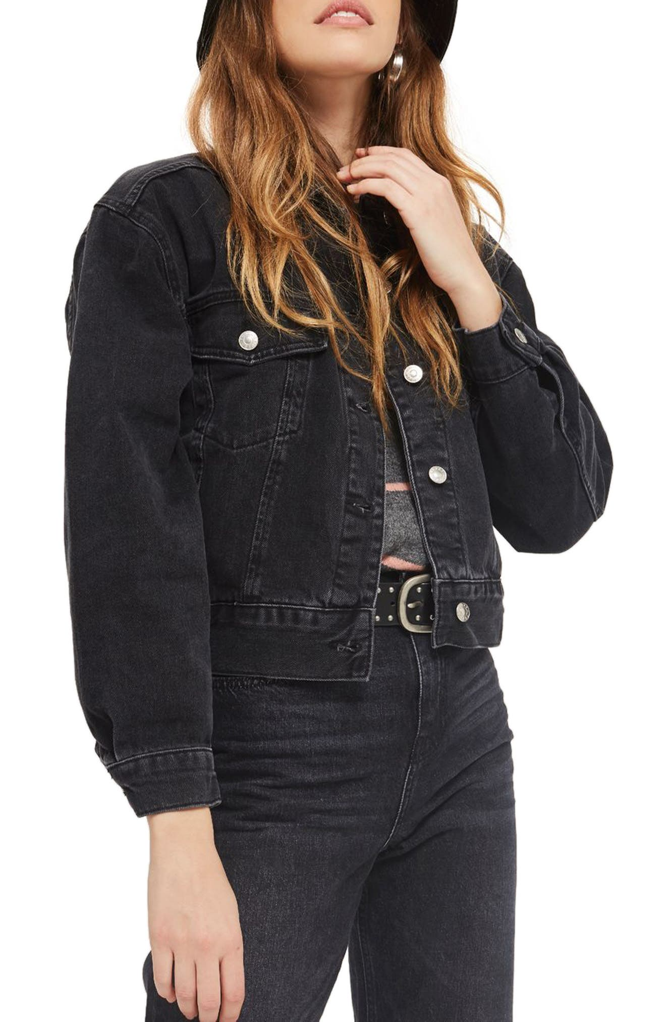 Boxy Crop Denim Jacket,                             Main thumbnail 1, color,                             WASHED BLACK