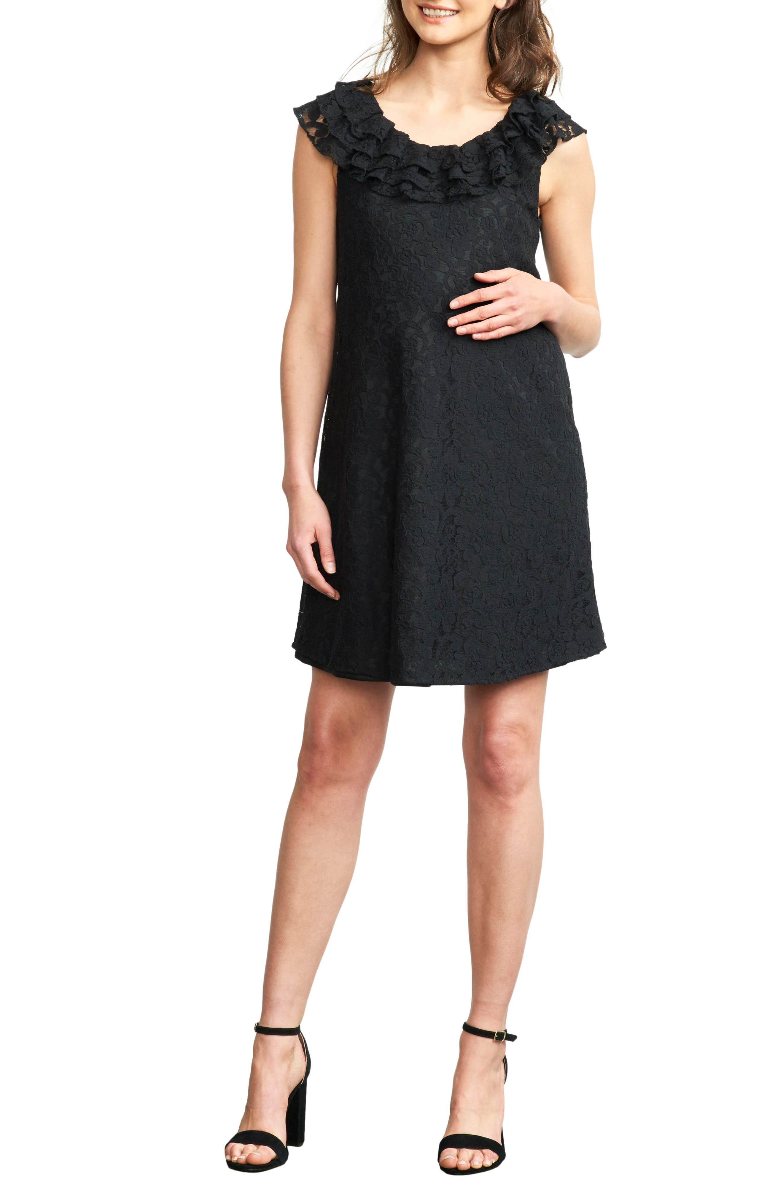 Ruffled Maternity Dress,                             Main thumbnail 1, color,                             BLACK LACE