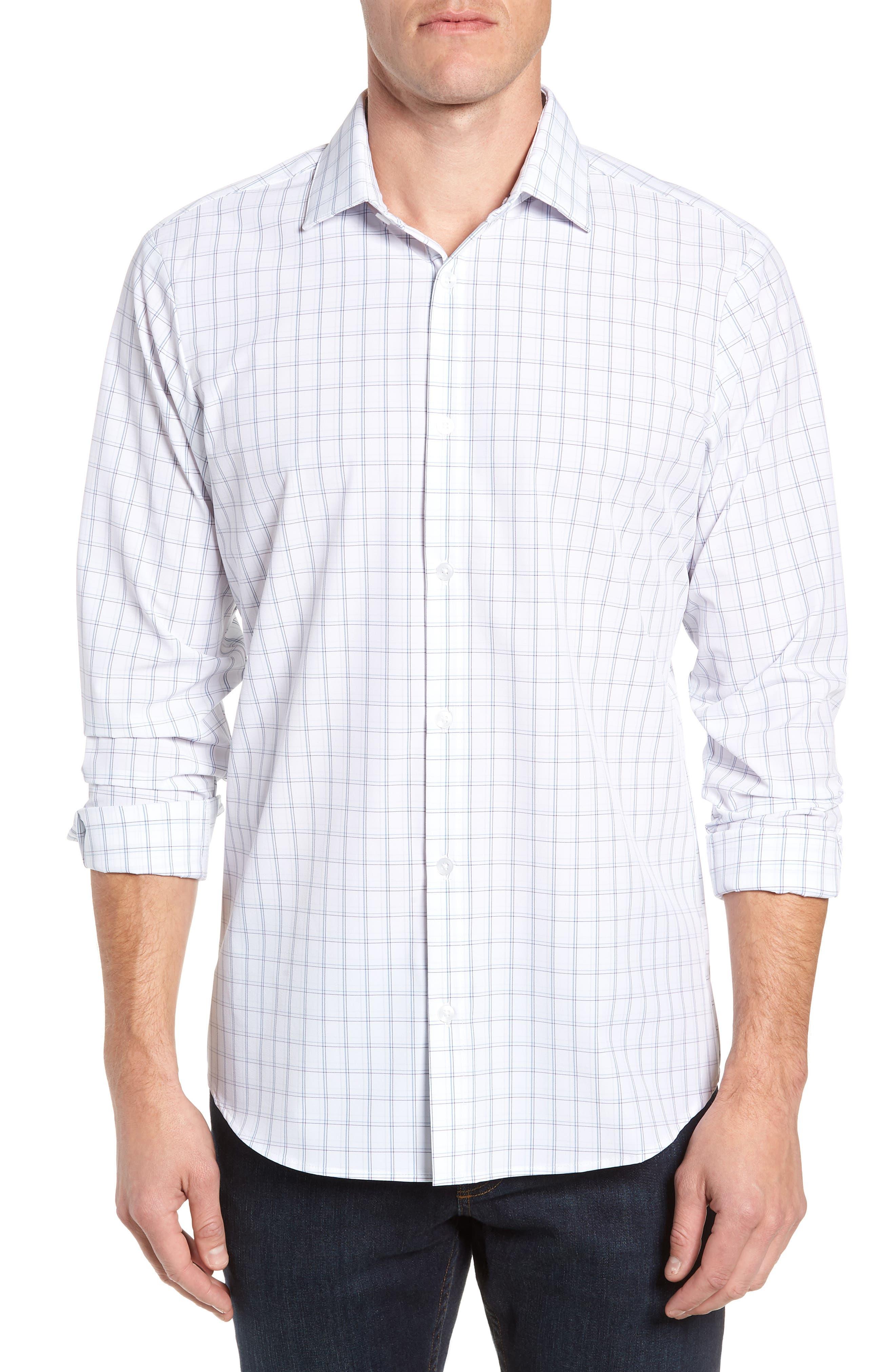 Sanders Slim Fit Check Performance Sport Shirt,                             Main thumbnail 1, color,                             WHITE