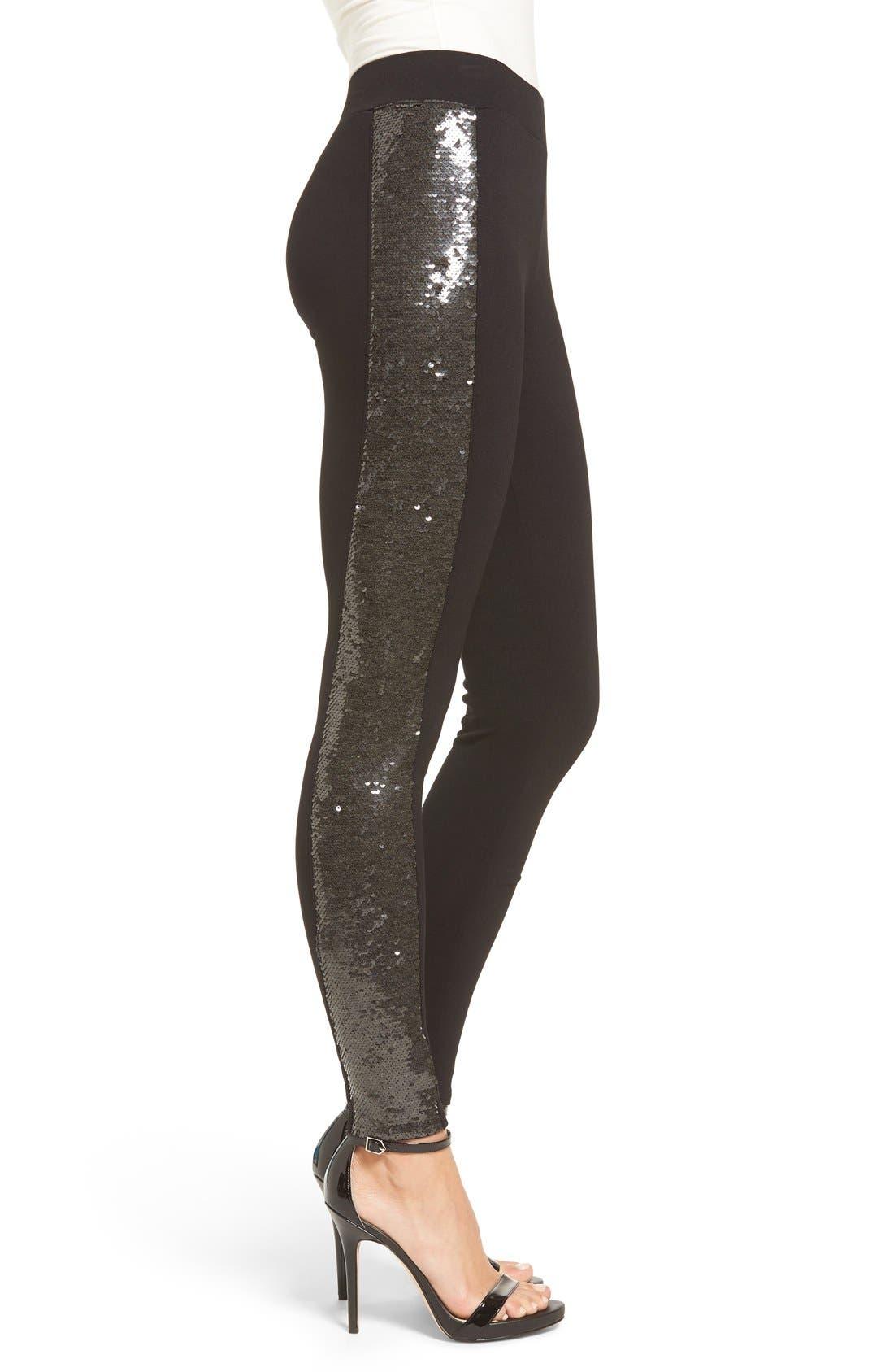 Sequin Sides Leggings,                             Alternate thumbnail 3, color,                             001