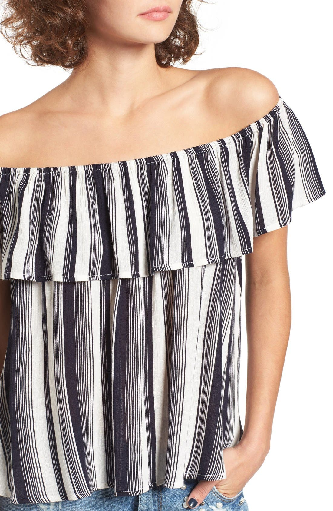 LOVE, FIRE,                             Fire Stripe Off the Shoulder Top,                             Alternate thumbnail 4, color,                             410