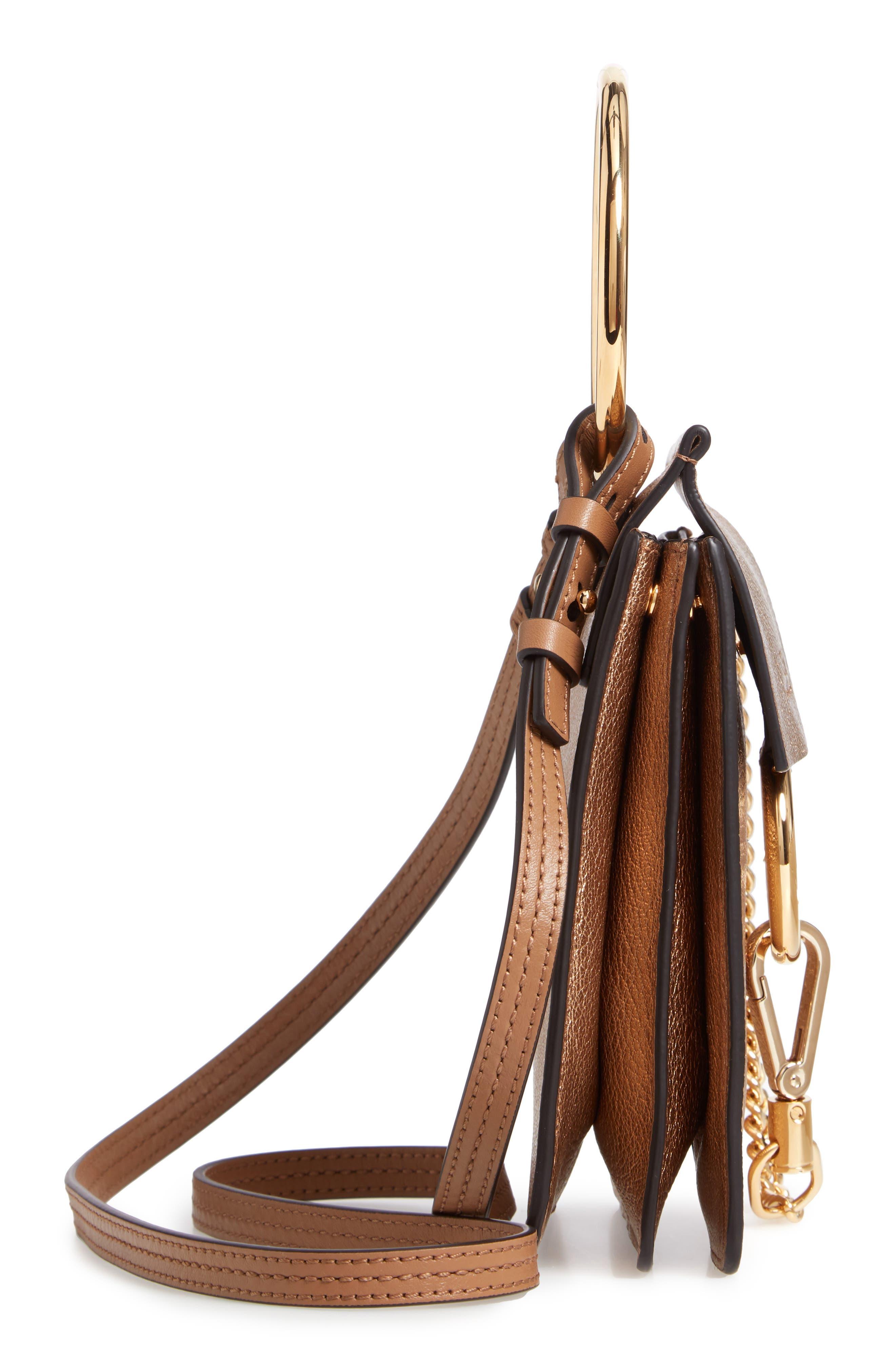 Faye Small Metallic Leather Bracelet Bag,                             Alternate thumbnail 6, color,                             GOLD