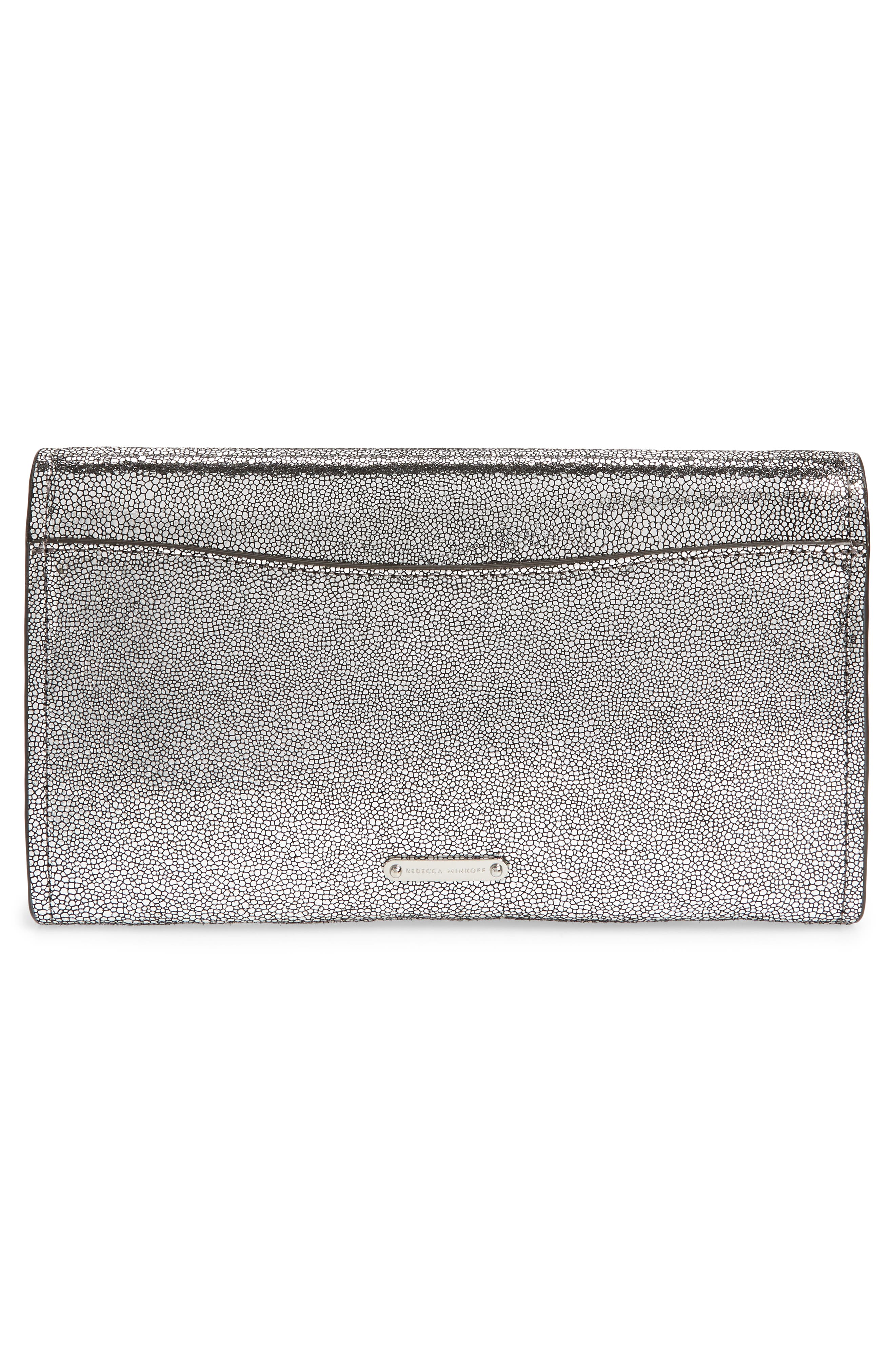 Jean Metallic Leather Clutch,                             Alternate thumbnail 3, color,                             SILVER
