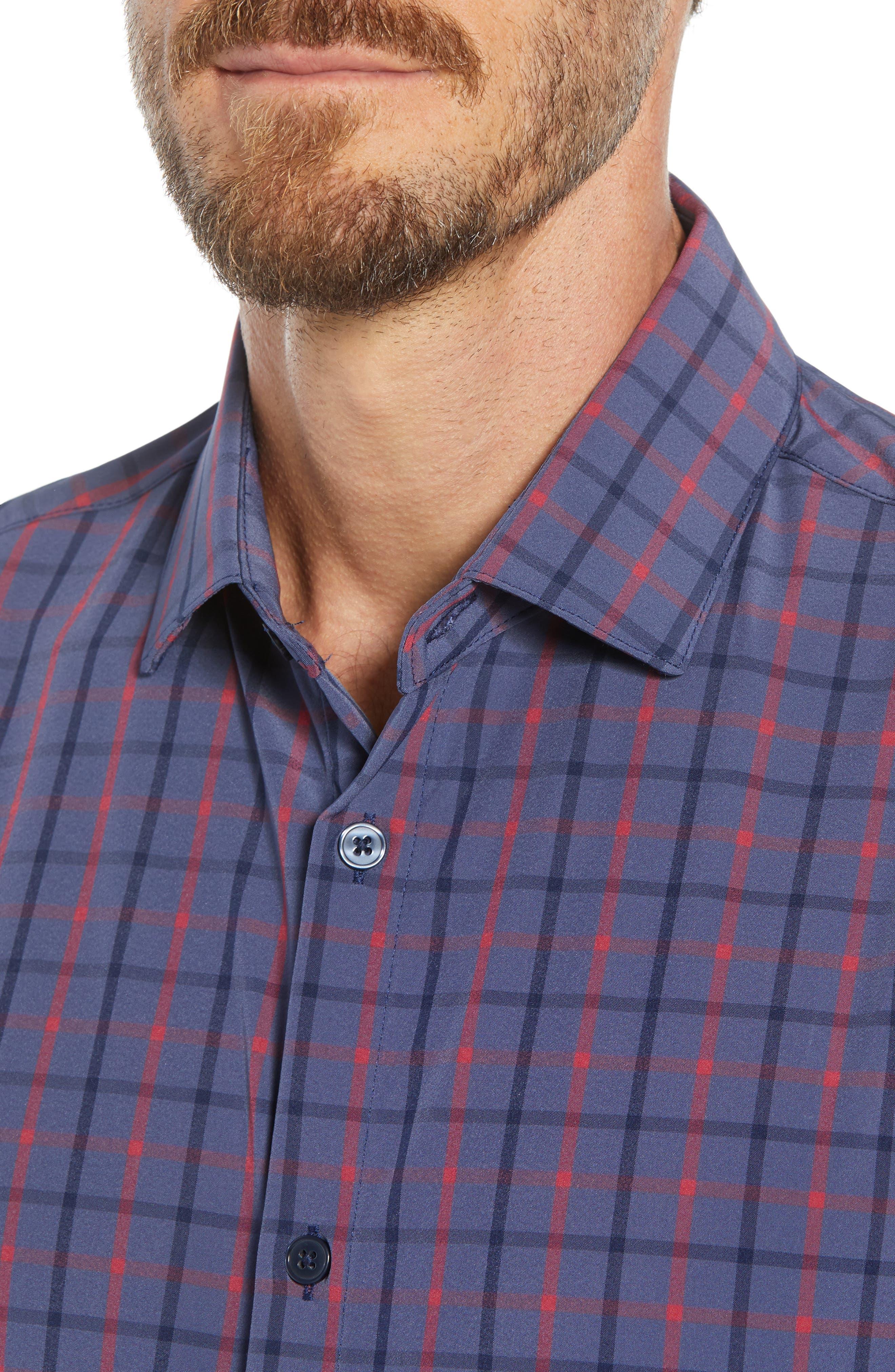 Wilson Slim Fit Plaid Performance Sport Shirt,                             Alternate thumbnail 2, color,                             BLUE