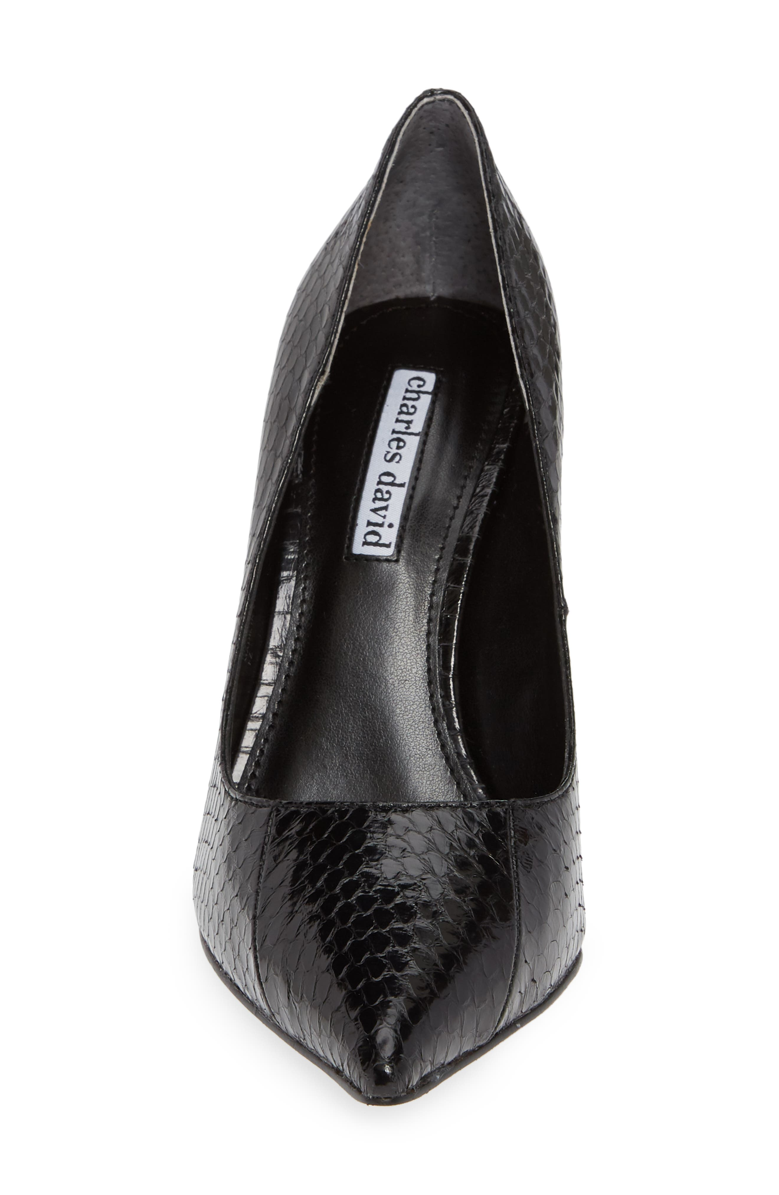 Calessi Pointy Toe Pump,                             Alternate thumbnail 4, color,                             BLACK SNAKE PRINT LEATHER