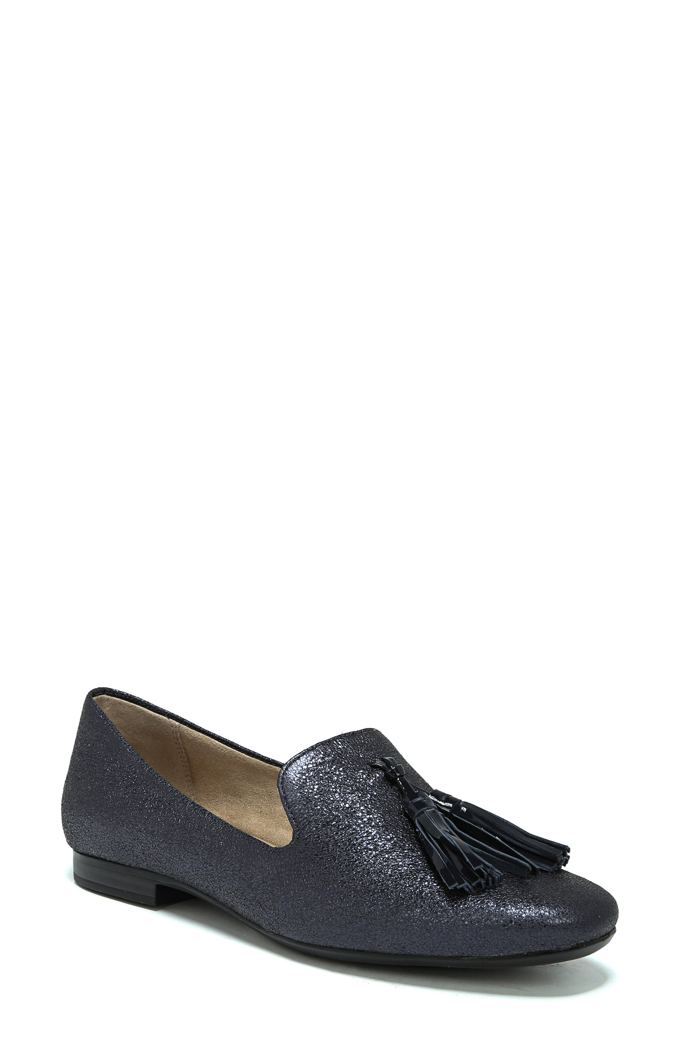 Elly Flat,                         Main,                         color, NAVY METALLIC LEATHER