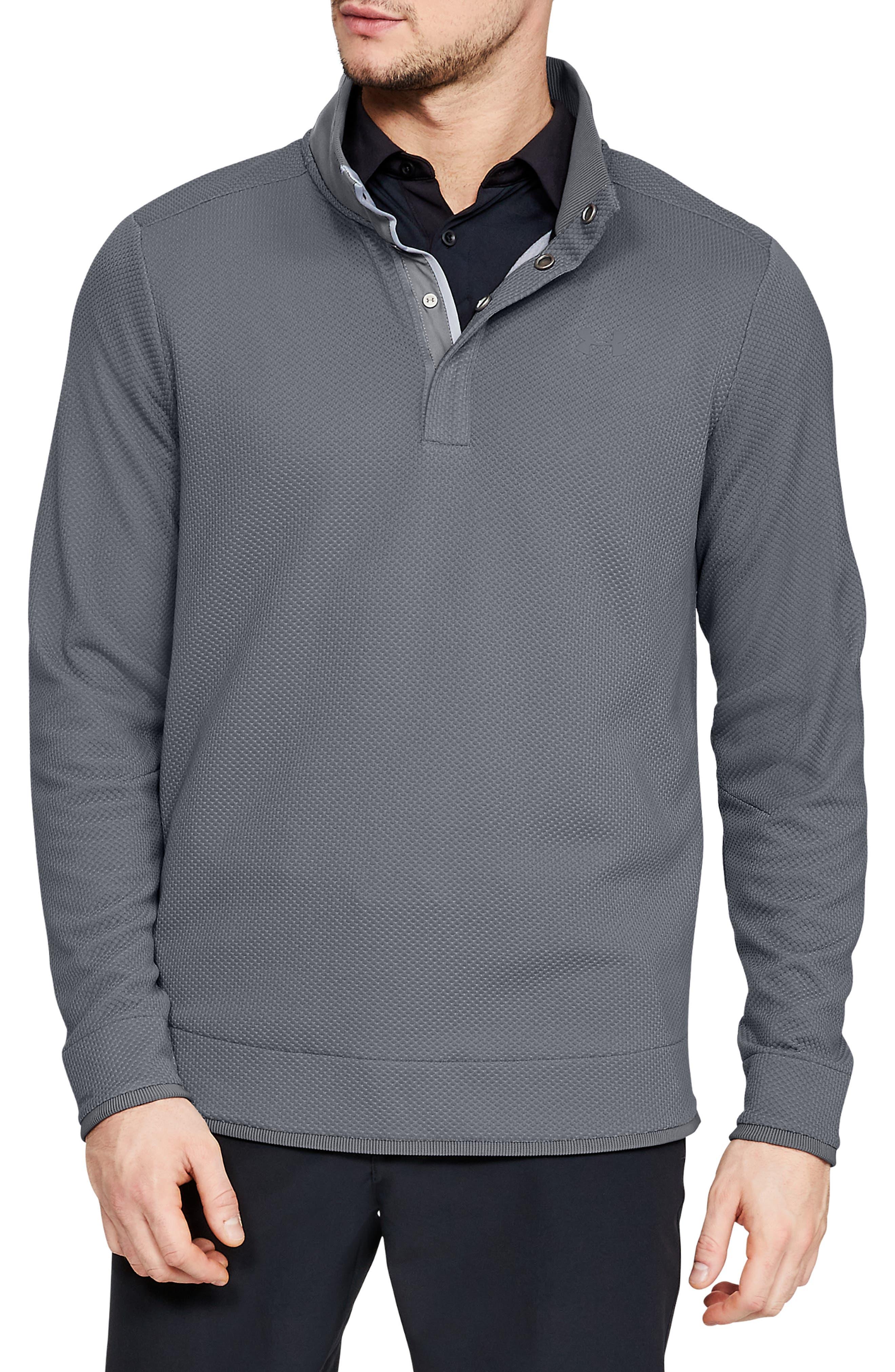 Under Armour Storm Sweaterfleece Snap Mock Neck Pullover, Grey