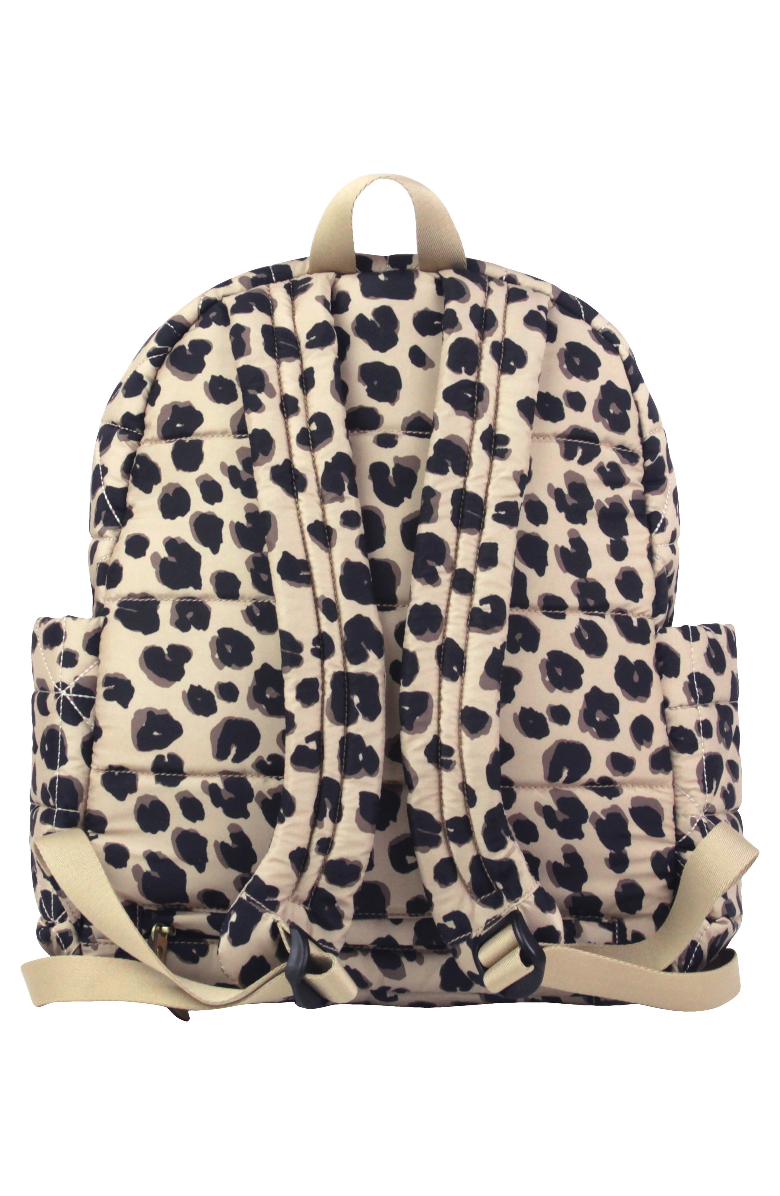 Quilted Water Resistant Nylon Diaper Backpack,                             Alternate thumbnail 3, color,                             LEOPARD PRINT
