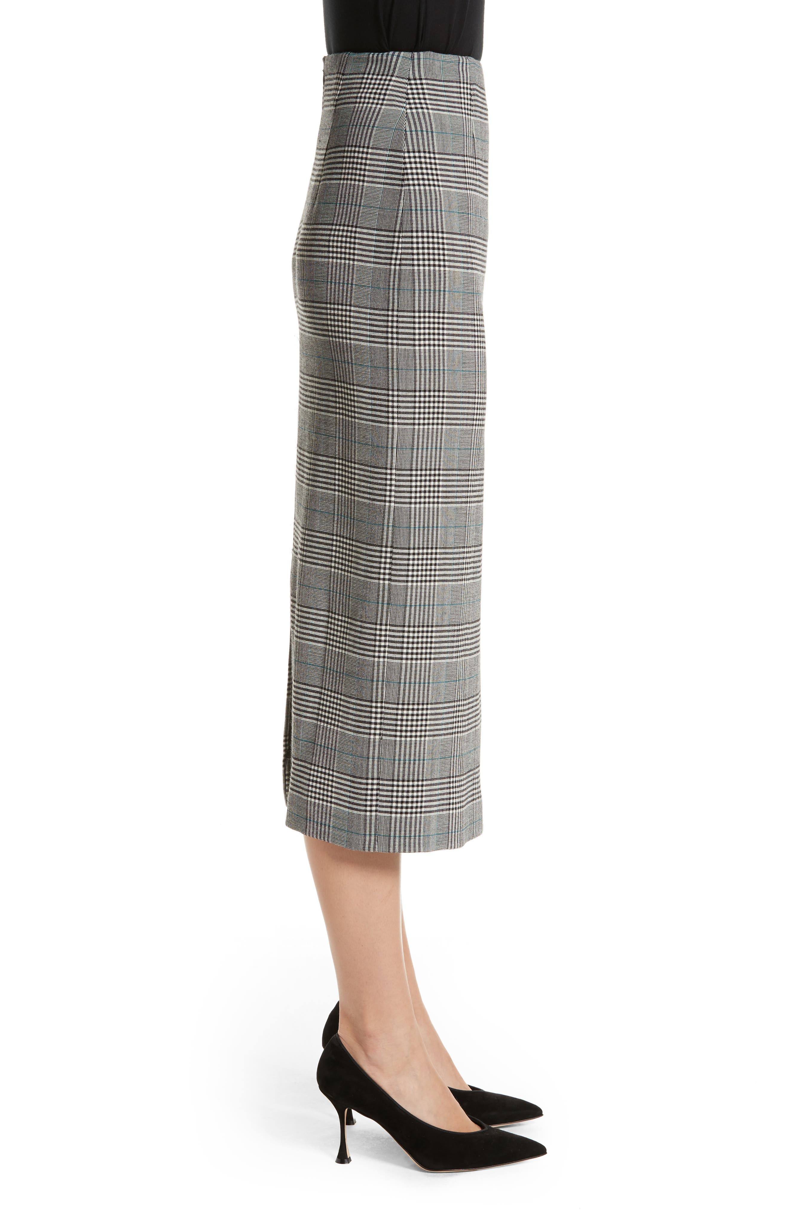 Prince of Wales High Waist Pencil Skirt,                             Alternate thumbnail 3, color,                             001
