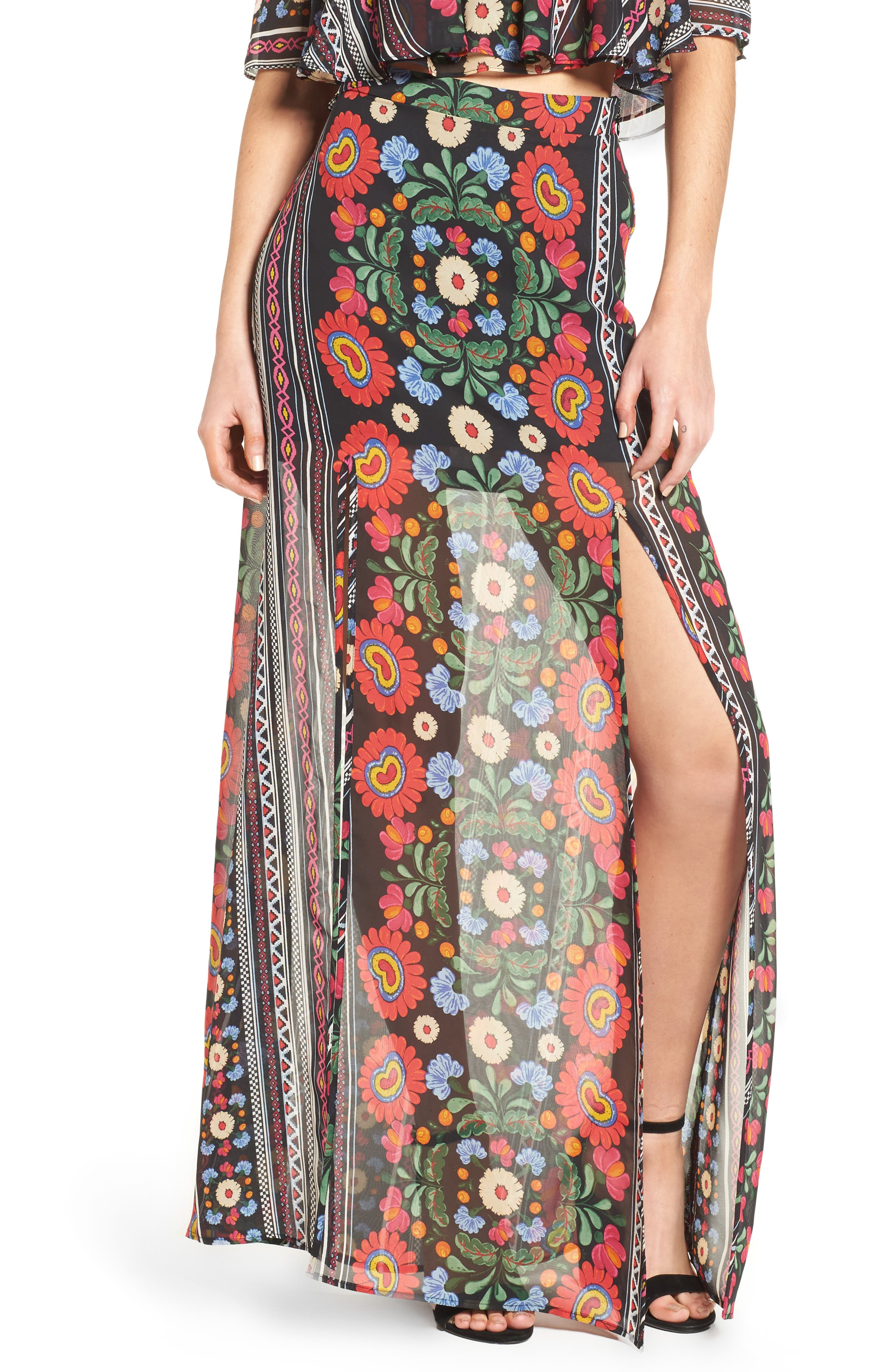 Mick Double Slit Skirt,                             Main thumbnail 1, color,                             600