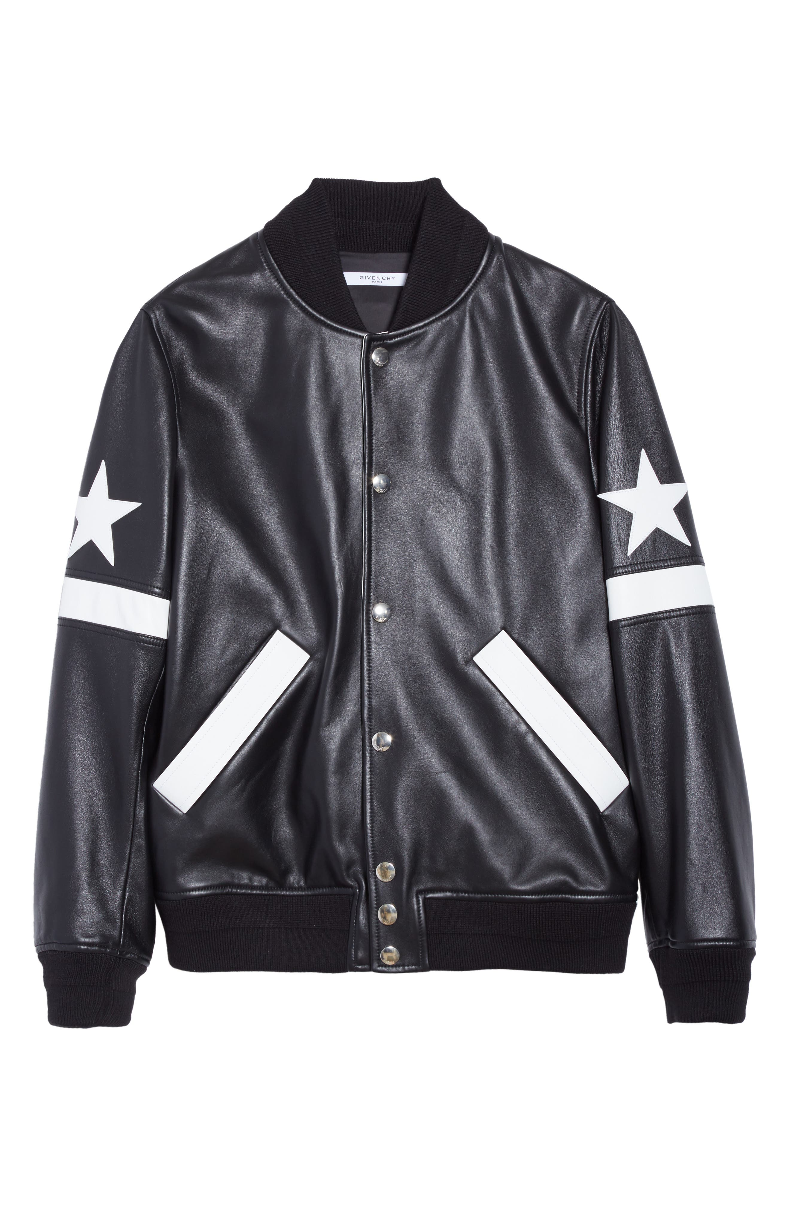 Leather Bomber Jacket,                             Alternate thumbnail 5, color,                             001
