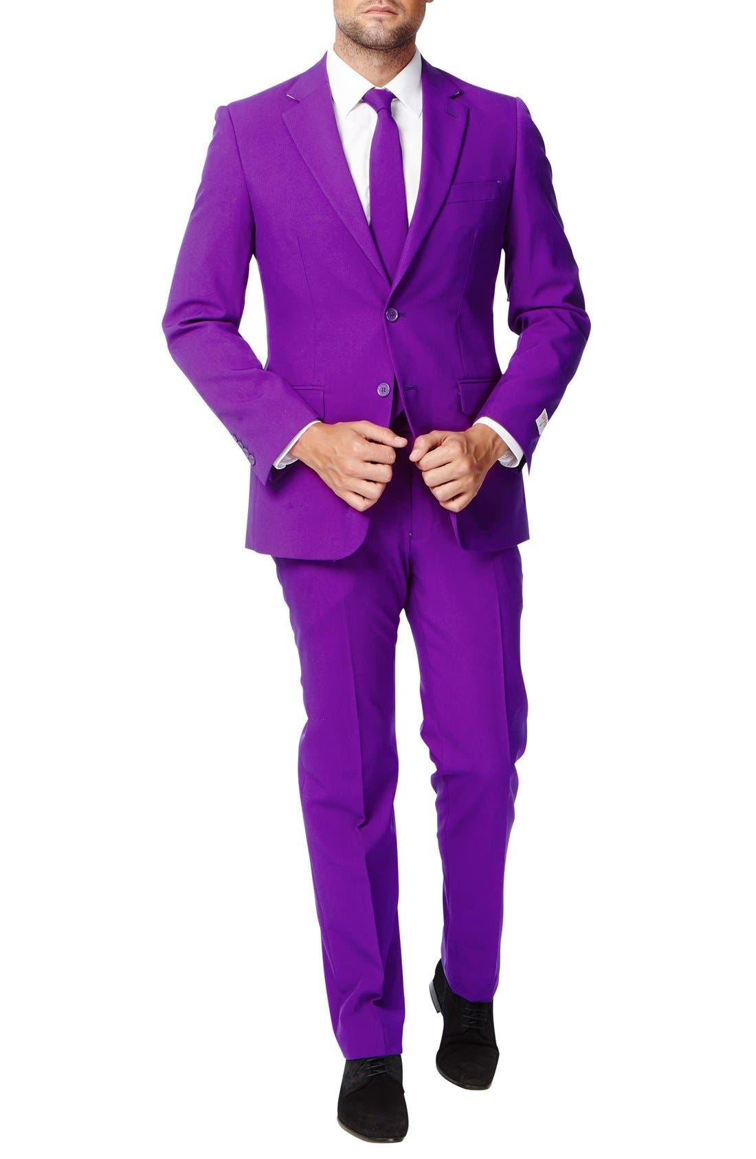 'Purple Prince' Trim Fit Two-Piece Suit with Tie,                             Alternate thumbnail 4, color,                             500