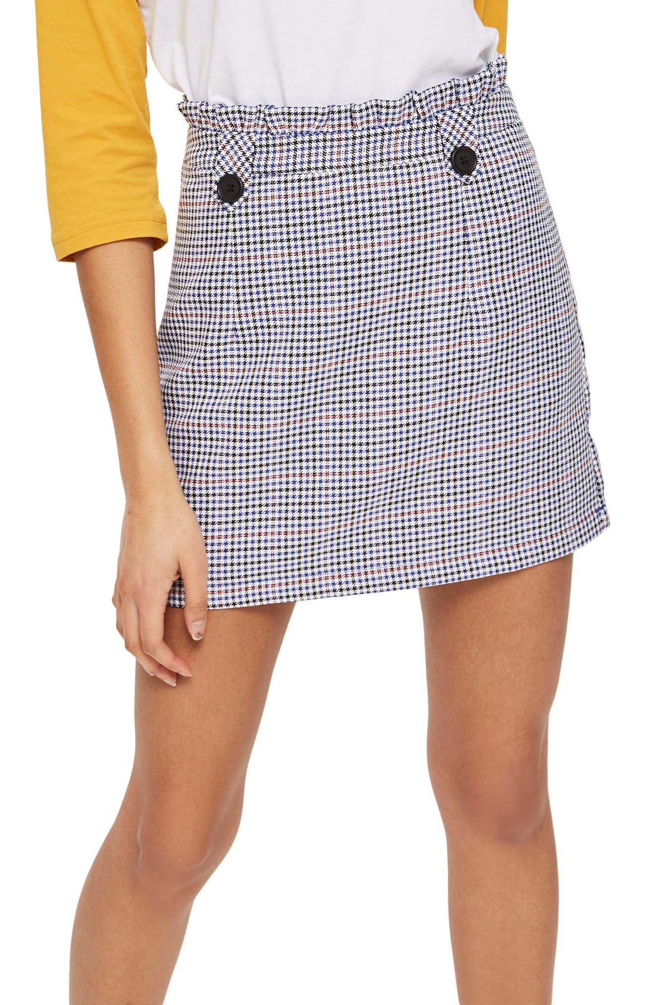 Pop Check Frill Waist Miniskirt,                             Main thumbnail 1, color,                             100