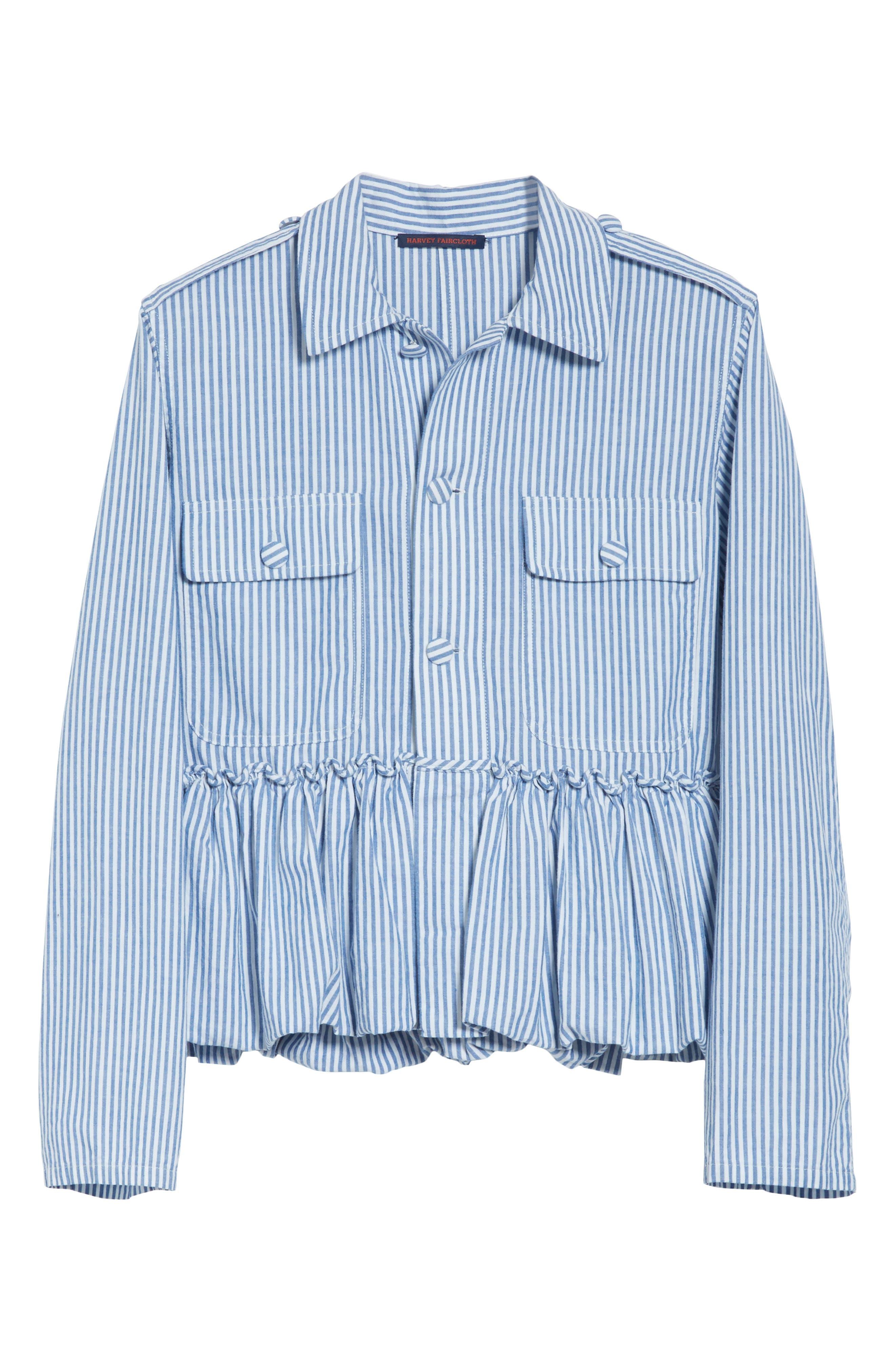 Stripe Bubble Hem Jacket,                             Alternate thumbnail 5, color,                             400