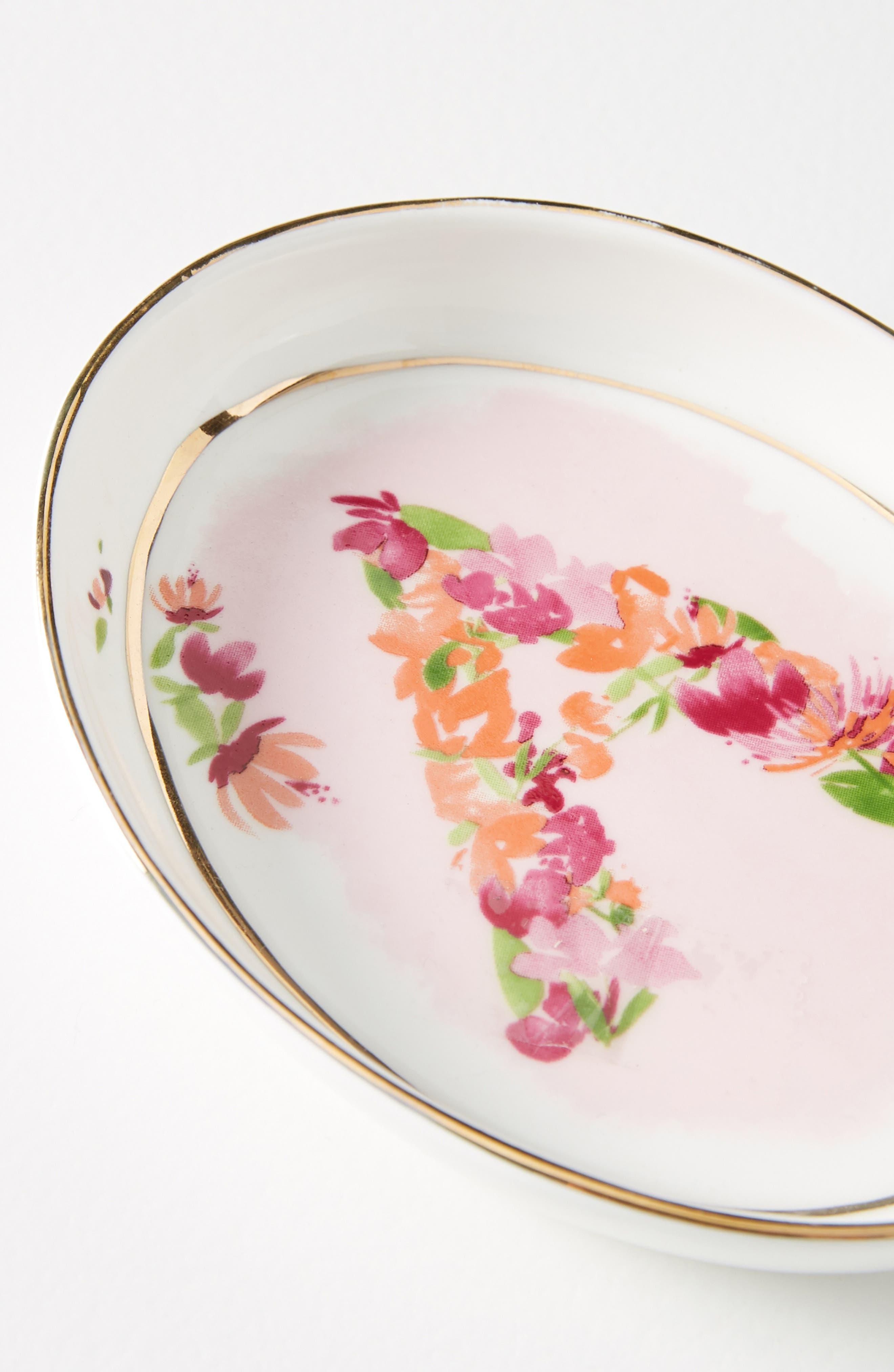 ANTHROPOLOGIE,                             Kiana Mosley Monogram Trinket Dish,                             Alternate thumbnail 7, color,                             100