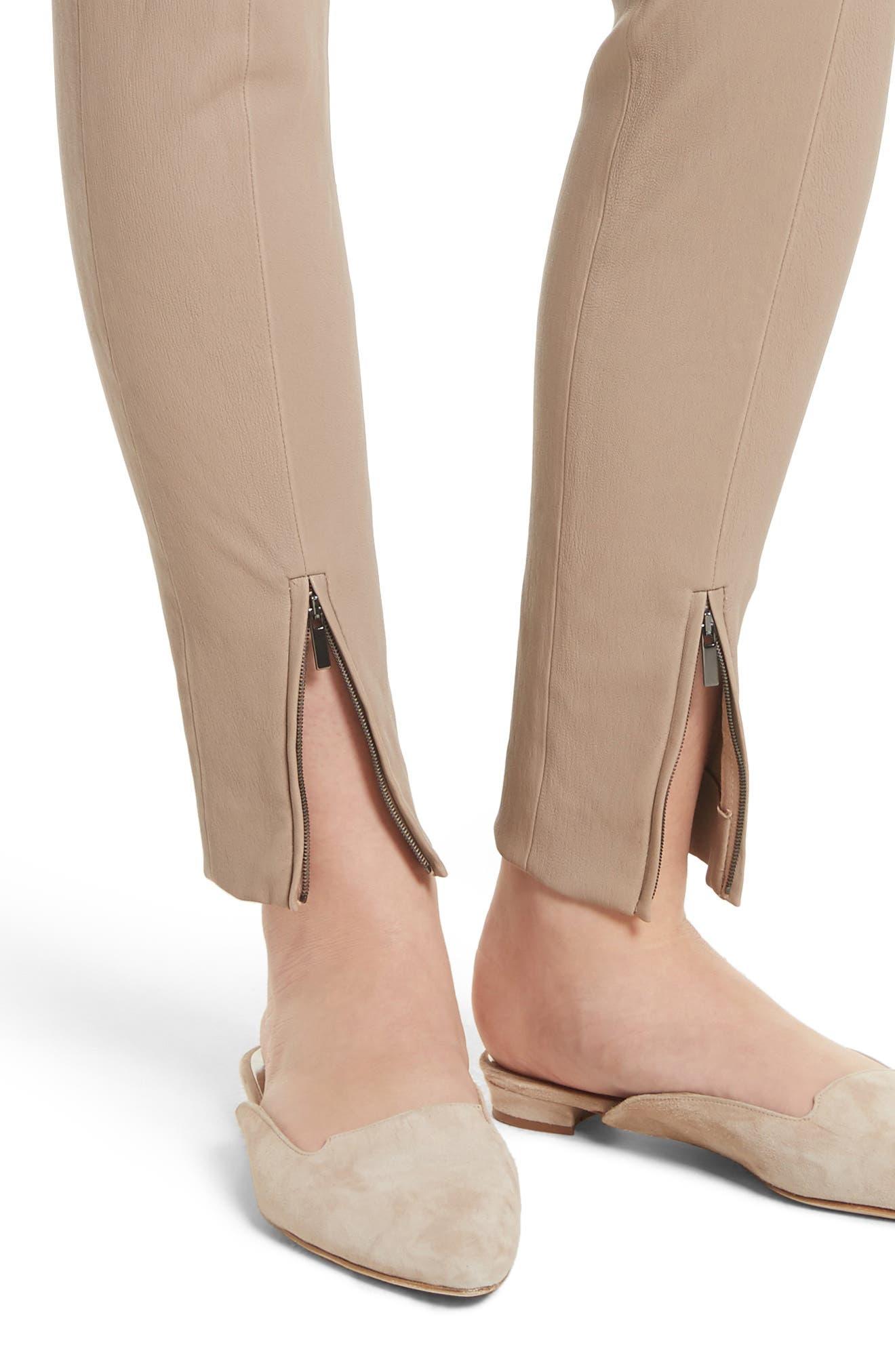 Stretch Leather Pants,                             Alternate thumbnail 4, color,                             205