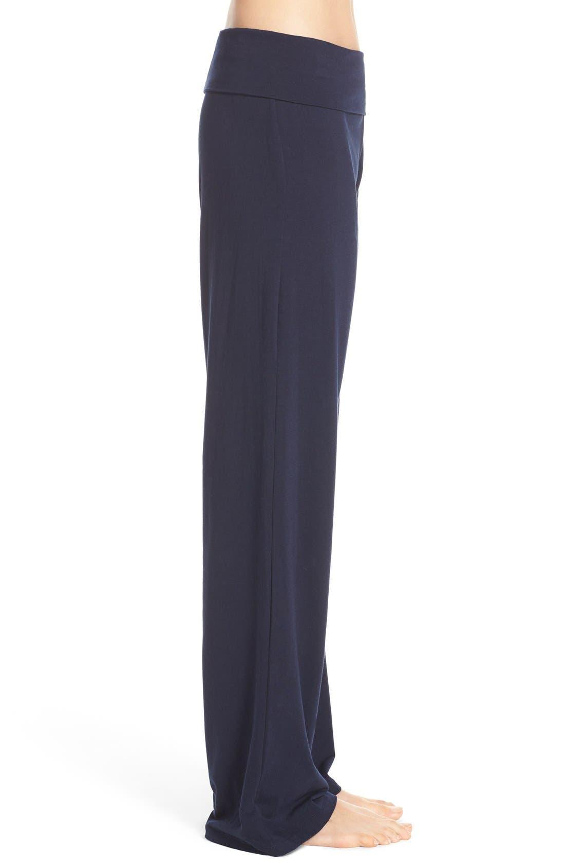 Wide Leg Stretch Cotton Pajama Pants,                             Alternate thumbnail 4, color,                             PEACOAT