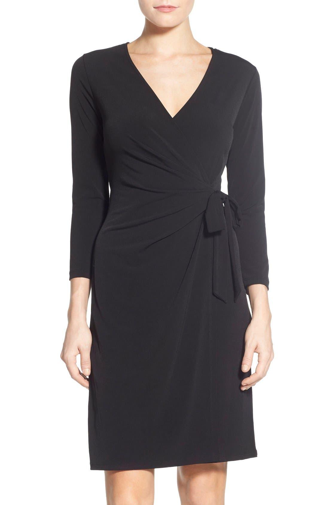 Jersey Faux Wrap Dress,                             Main thumbnail 1, color,                             001