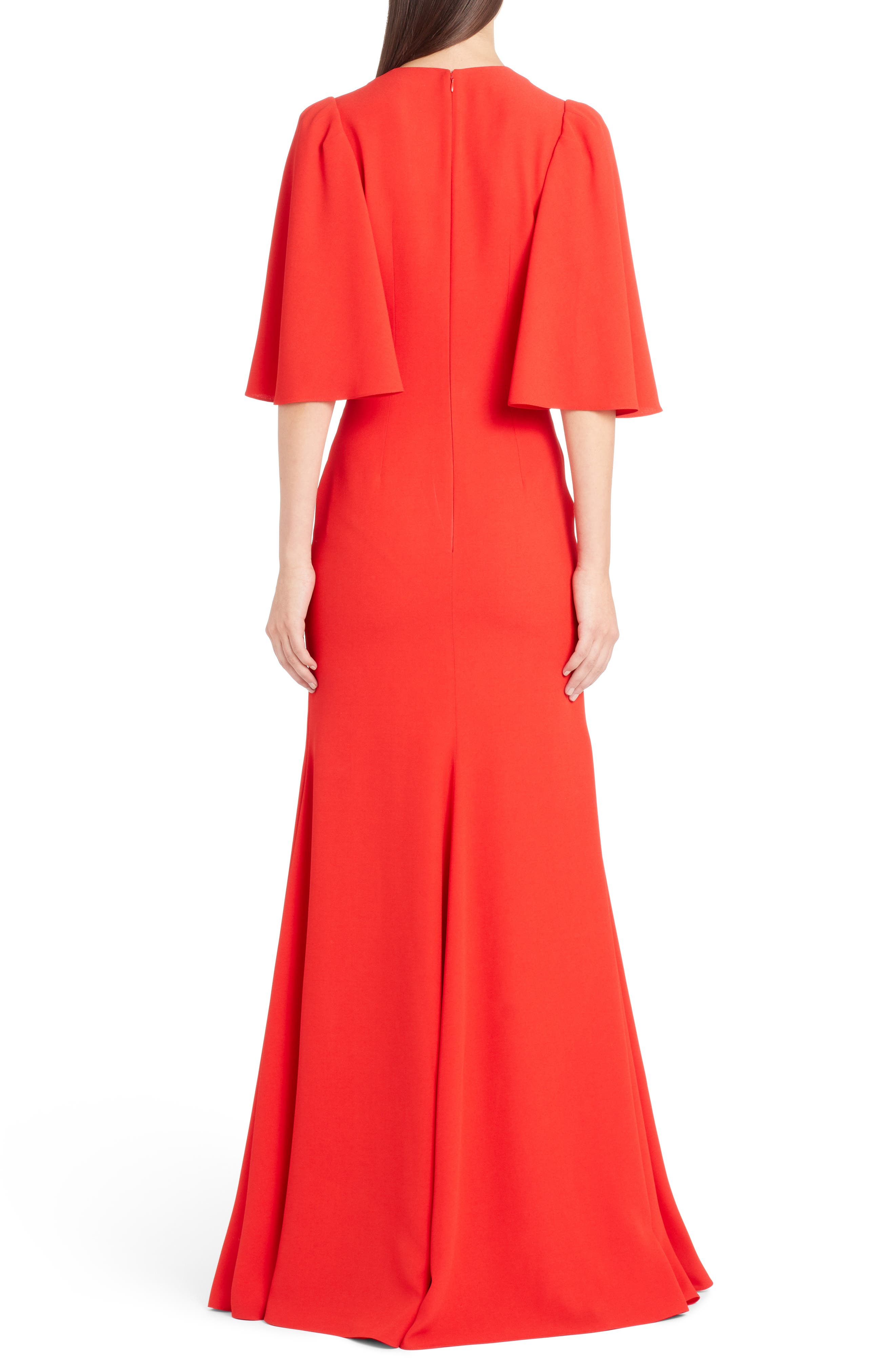 Cape Sleeve Satin Crepe Gown,                             Alternate thumbnail 2, color,                             LUST RED