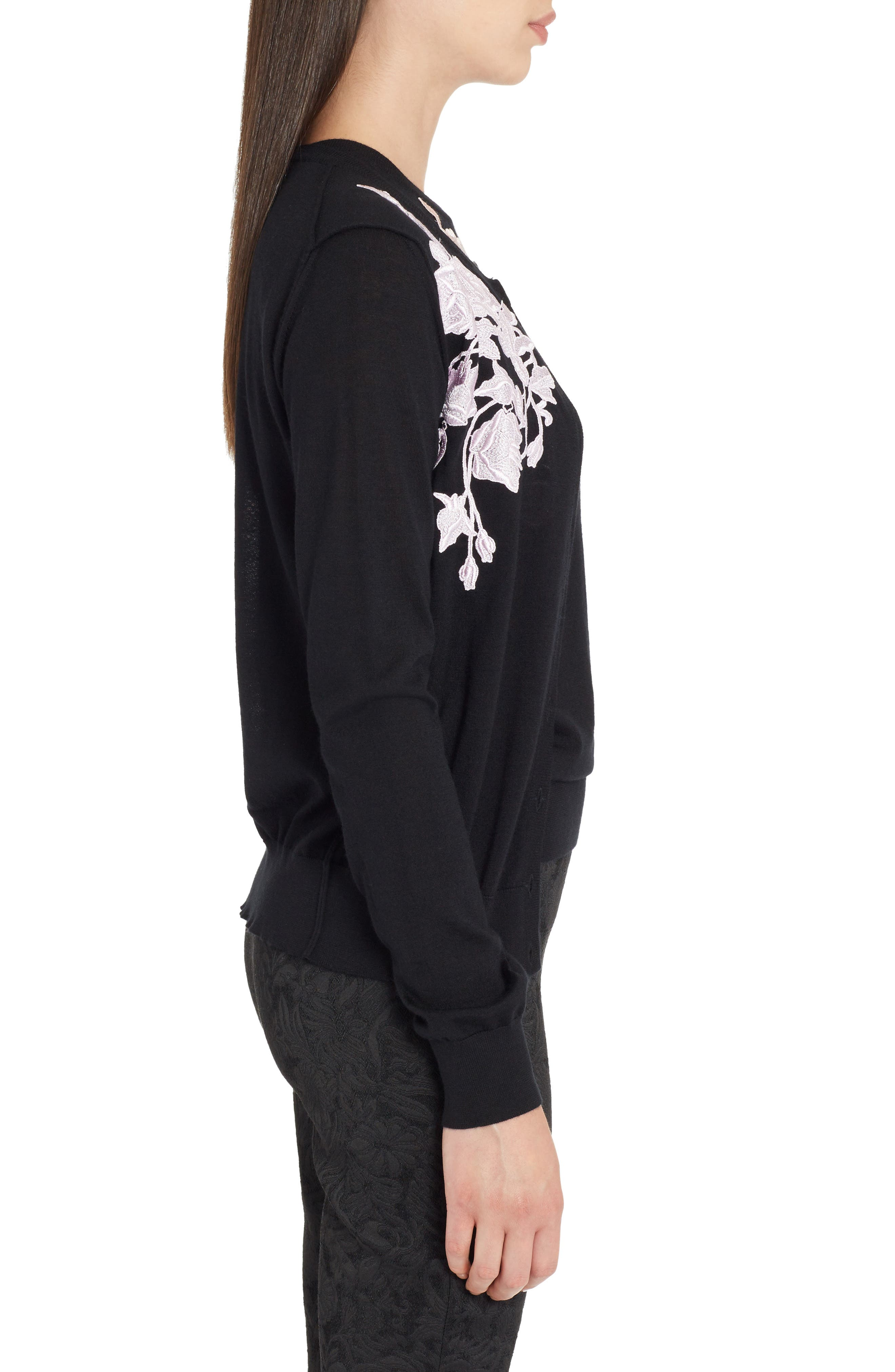 Placed Lace Cashmere Cardigan,                             Alternate thumbnail 3, color,