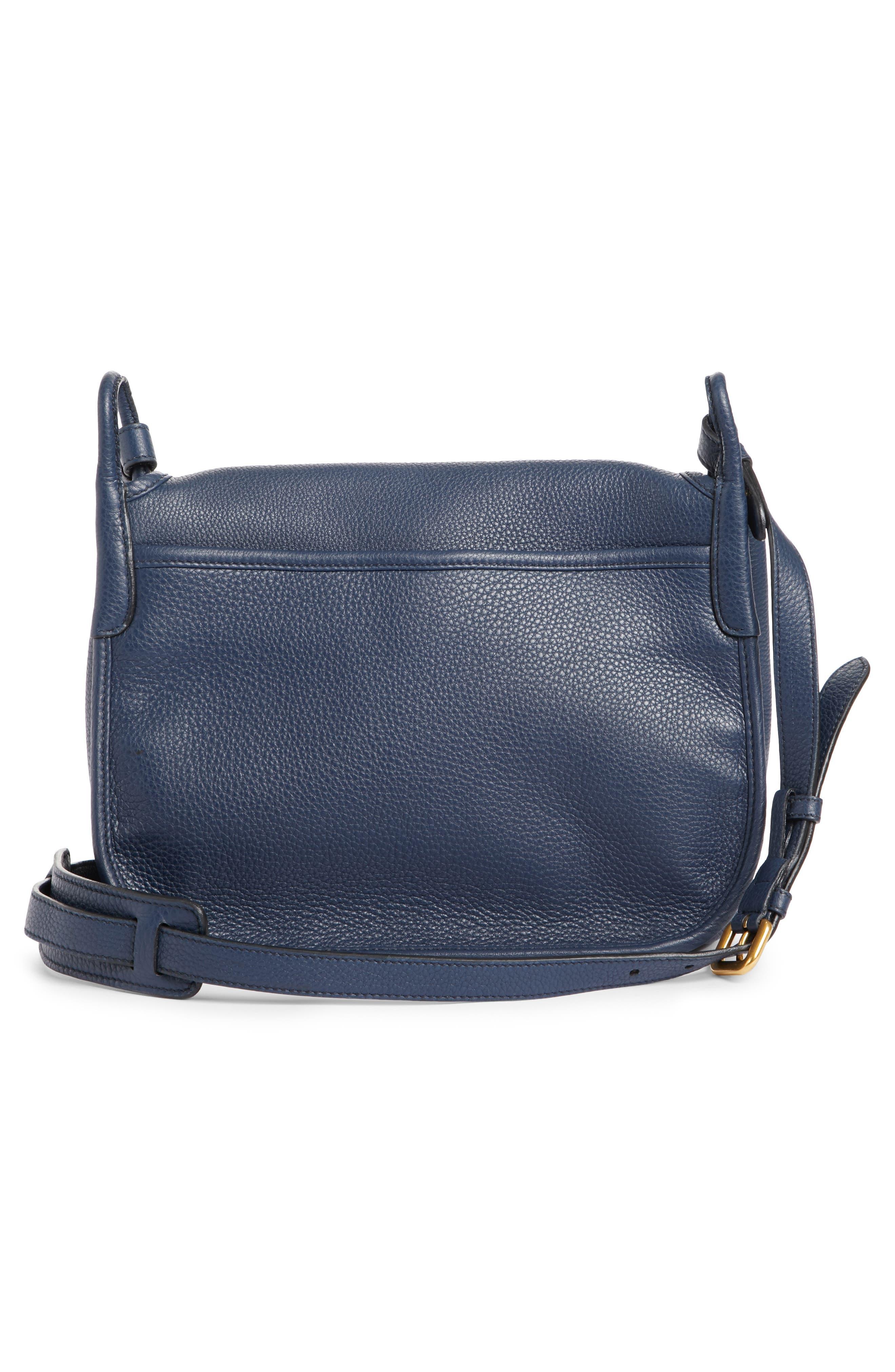 Vitello Daino Heritage Logo Leather Crossbody Bag,                             Alternate thumbnail 6, color,