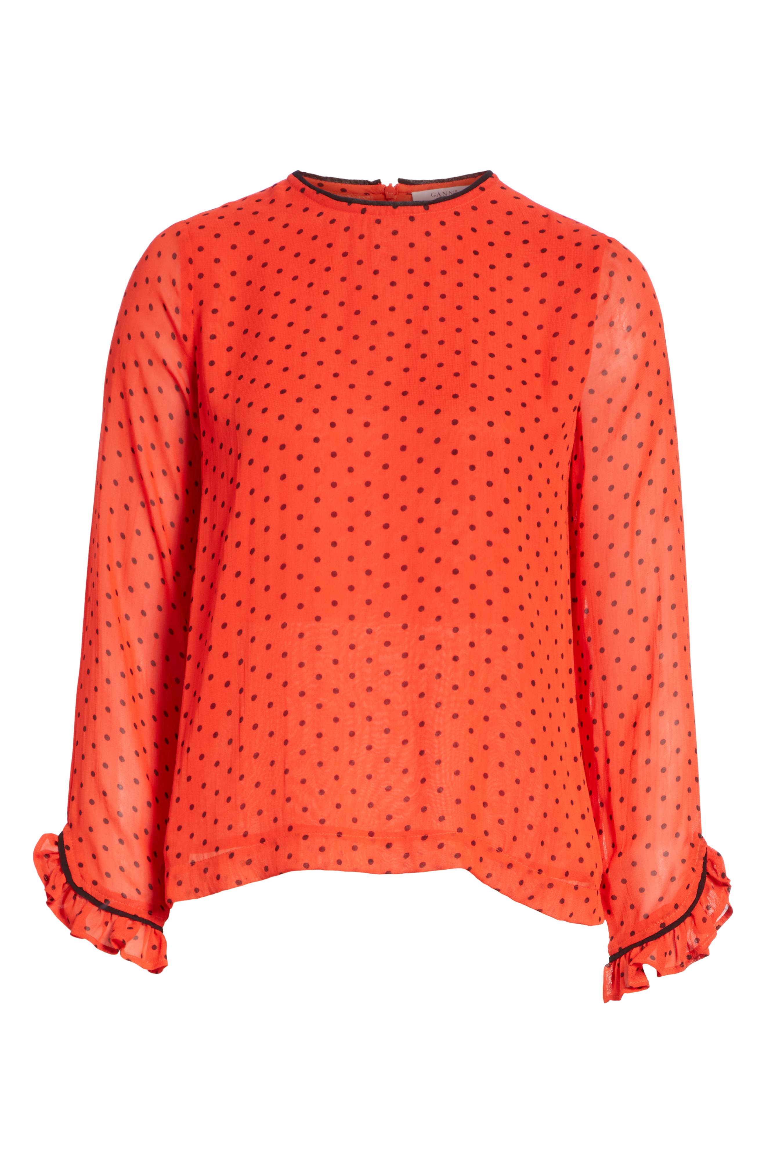 Mullin Print Georgette Blouse,                             Alternate thumbnail 6, color,                             FIERY RED 403